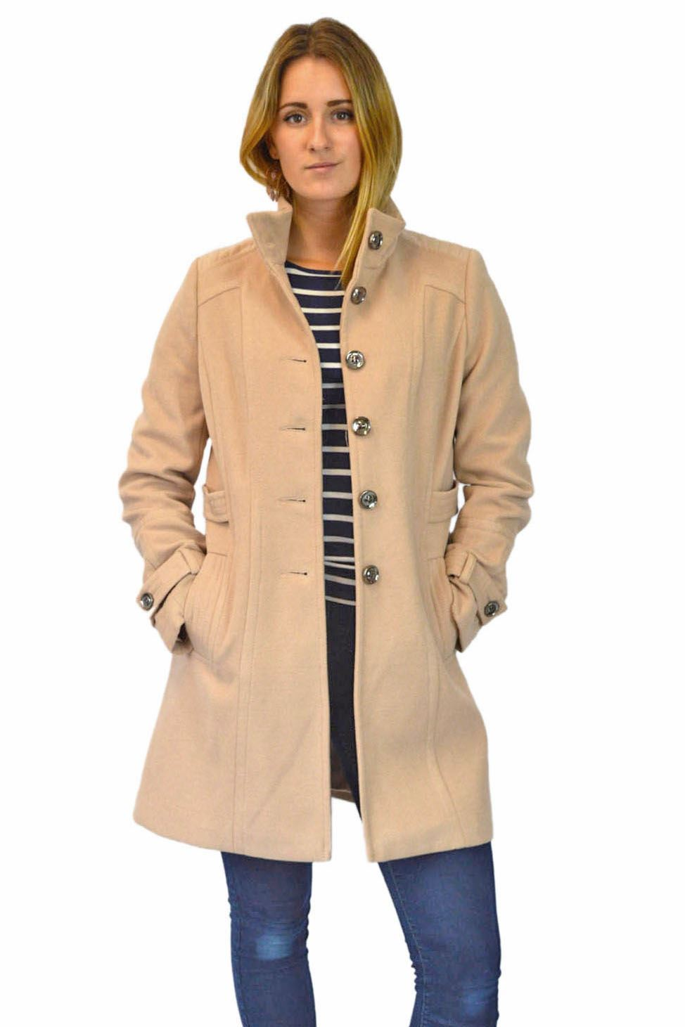 NEW-Ex-Wallis-Funnel-Neck-Button-Down-Winter-Coat-in-Beige-or-Black-Size-8-16 thumbnail 6