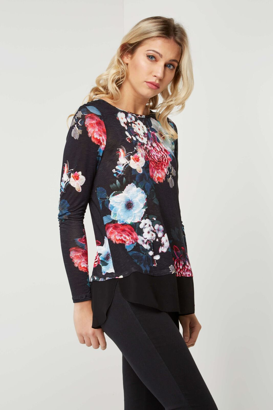 ROMAN-ORIGINALS-Black-Floral-Jersey-Top-with-Chiffon-Mock-Layer-RRP-30
