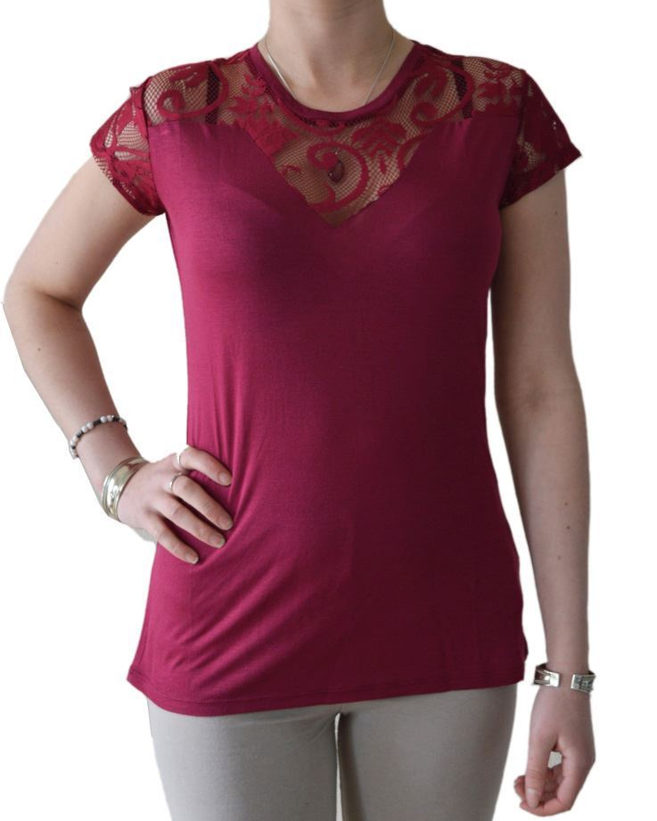 Ex-Morgan-Lace-T-Shirt-Jersey-Top-Dark-Red-Cream-or-Black-Size-XS-XL thumbnail 13
