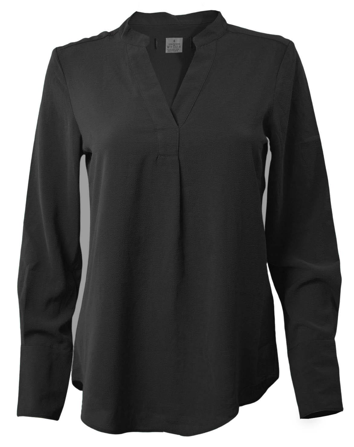 NEW-Ex-M-amp-S-Ladies-Long-Sleeve-V-Neck-Crepe-Tunic-Office-Blouse-Size-6-18 thumbnail 3