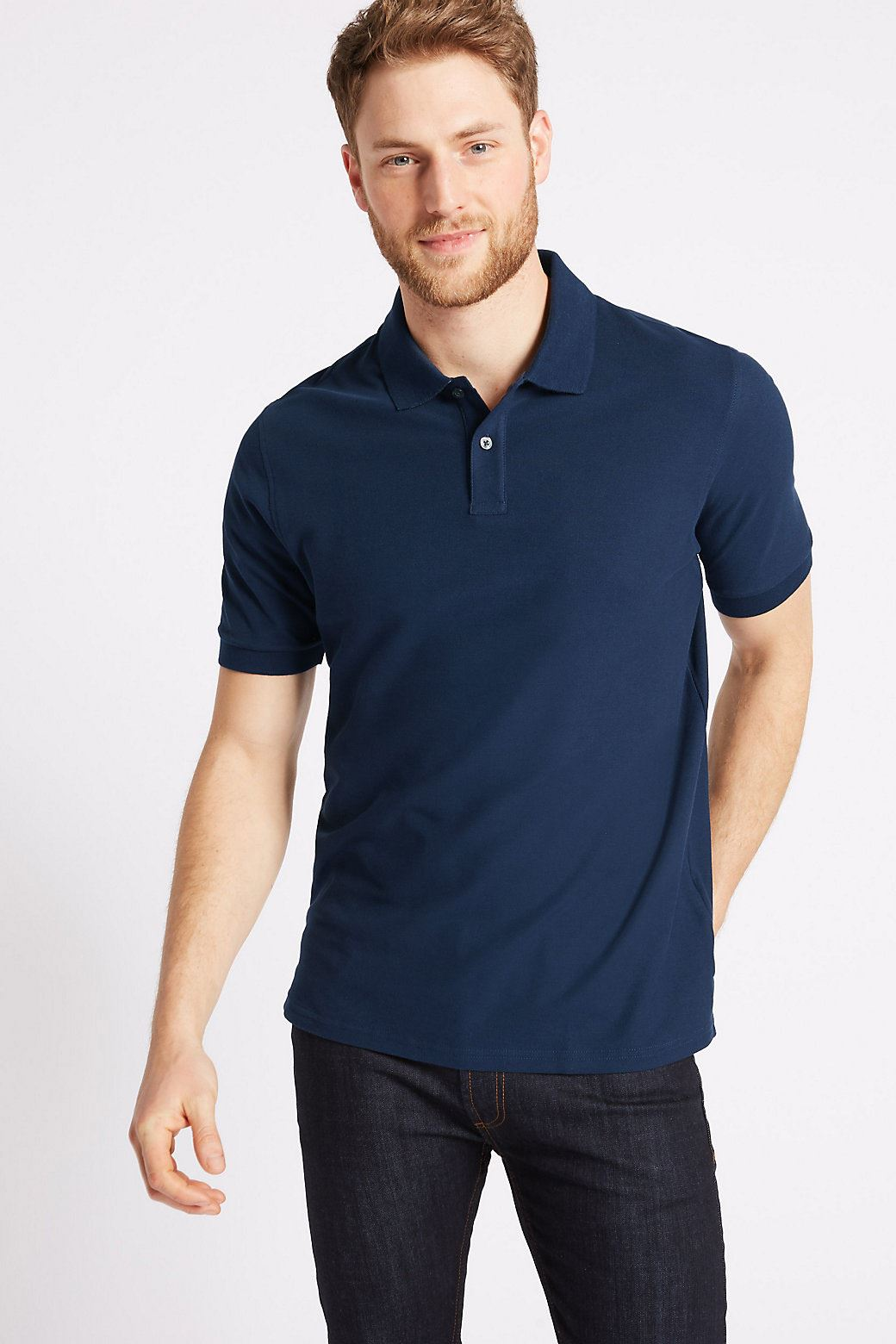 Ex-Marks-and-Spencer-Mens-Cotton-Pique-Polo-Shirt-NEW-Sizes-S-3XL thumbnail 16