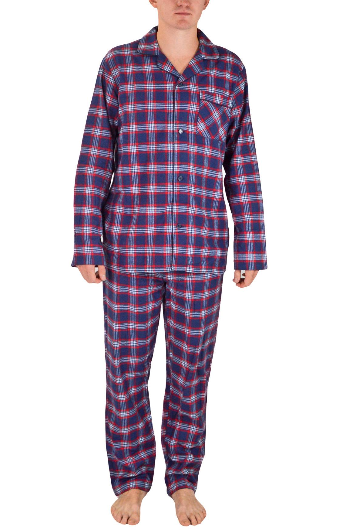NEW-Mens-Brushed-Pure-Cotton-Check-Pyjamas-Flannelette-PJ-Set-in-Blue-Red-Grey thumbnail 13