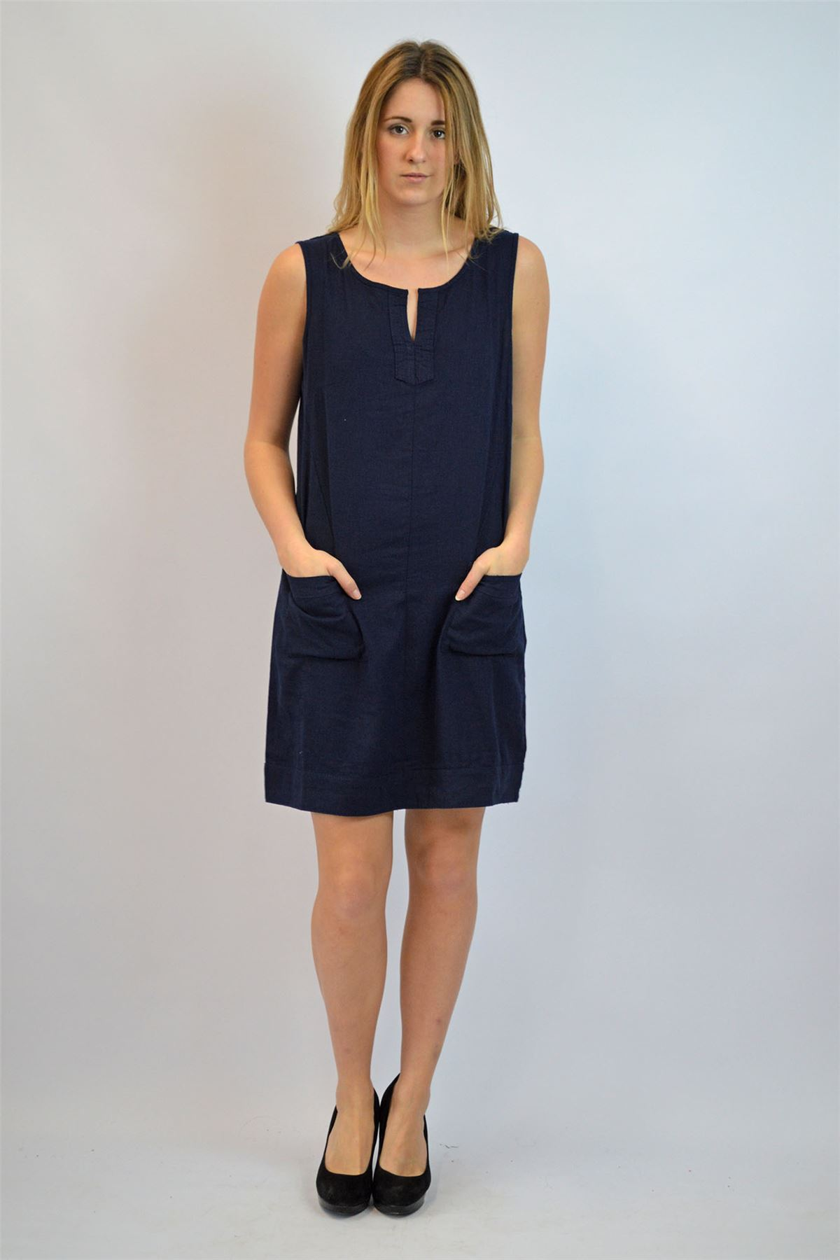 8f154efb579 NEXT Linen Sleeveless Summer Shift Dress