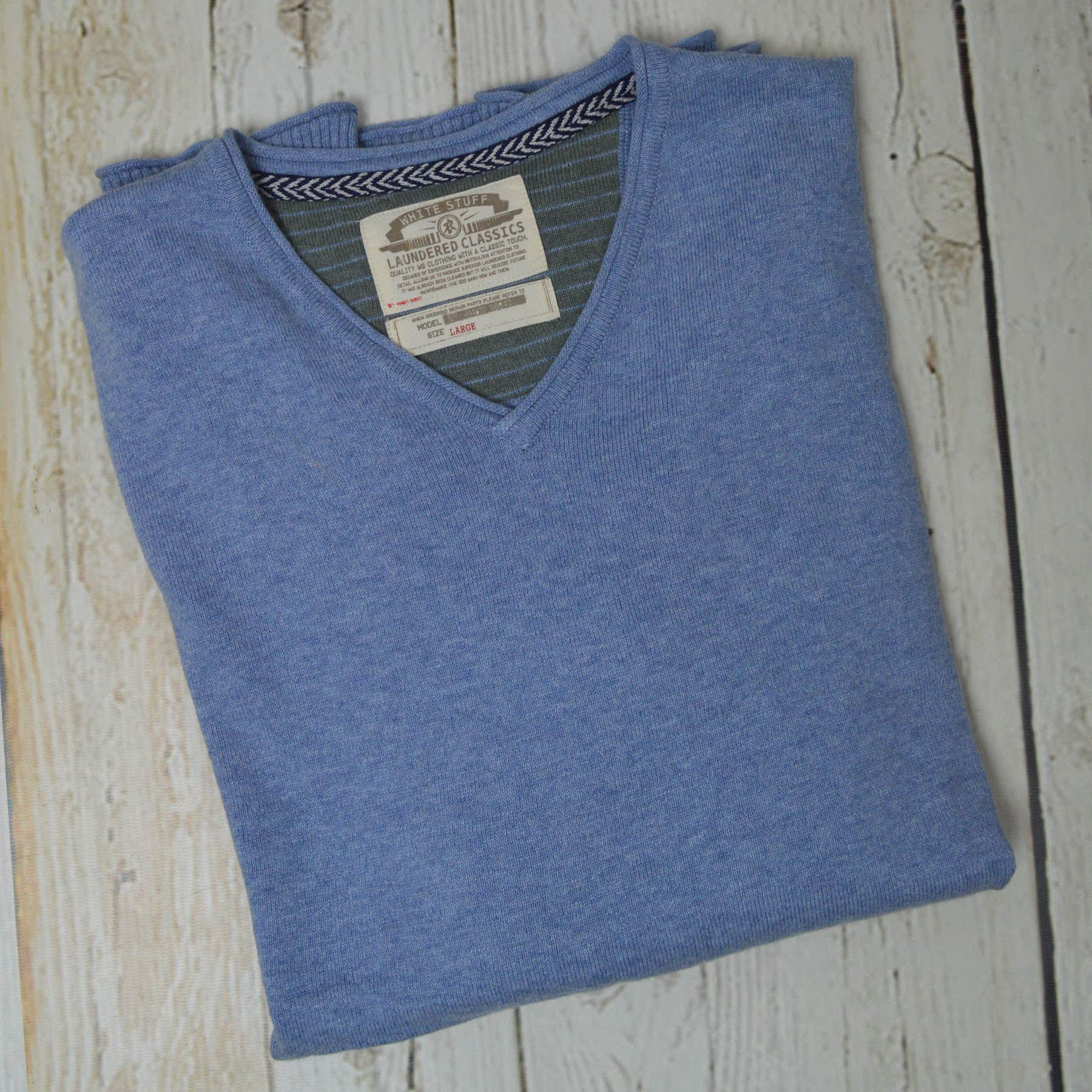 Ex-White-Stuff-Mens-Soft-Cotton-Cashmere-V-Neck-Jumper-Exposed-Seams-Sizes-S-2XL 縮圖 11