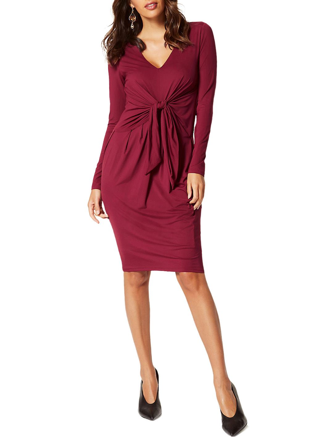 Ex-M-amp-S-Marks-Spencer-Tie-Front-Stretch-Midi-Dress-Burgundy-or-Black-Size-6-22 thumbnail 6