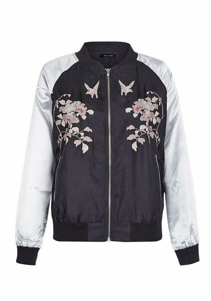 3a5cc6b89 Details about Ex New Look Silver Black Floral Embroidered Satin Bomber  Jacket