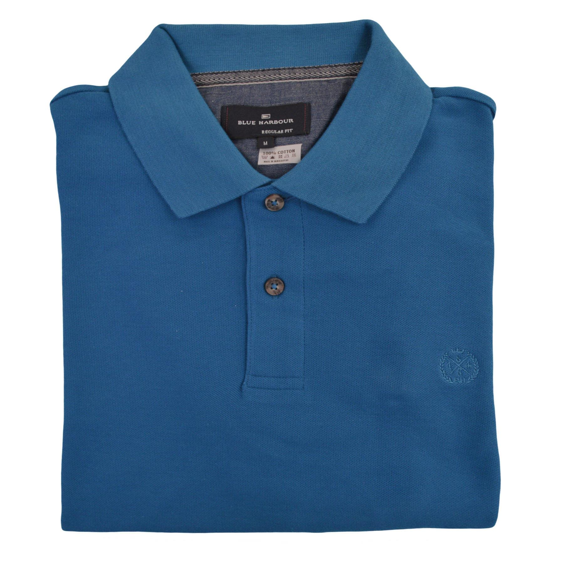 NEW-M-amp-S-Blue-Harbour-Mens-Polo-Shirt-Contrast-Stripe-Collar-Embroidered-Logo thumbnail 7