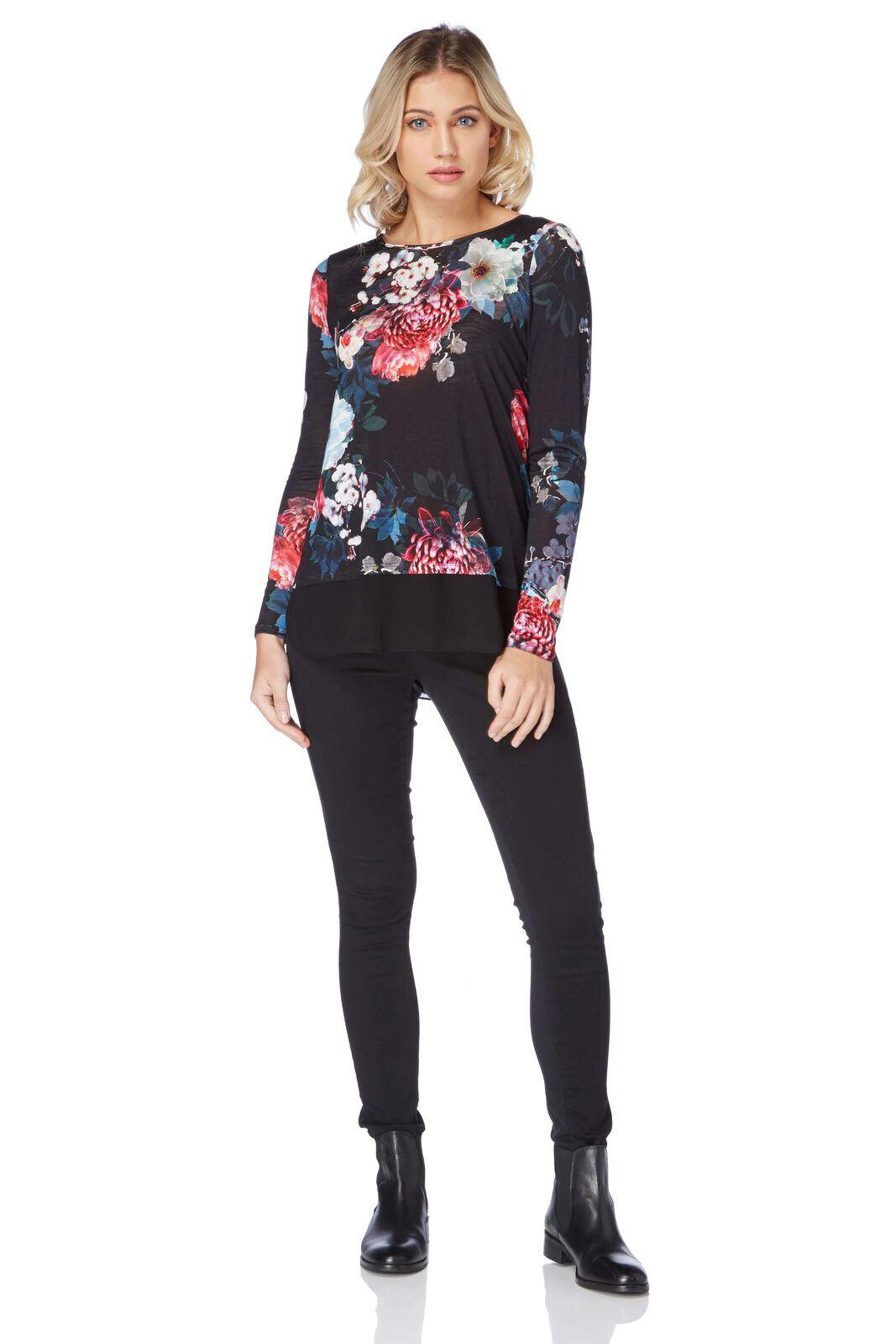 ROMAN-ORIGINALS-Black-Floral-Jersey-Top-with-Chiffon-Mock-Layer-RRP-30 thumbnail 5