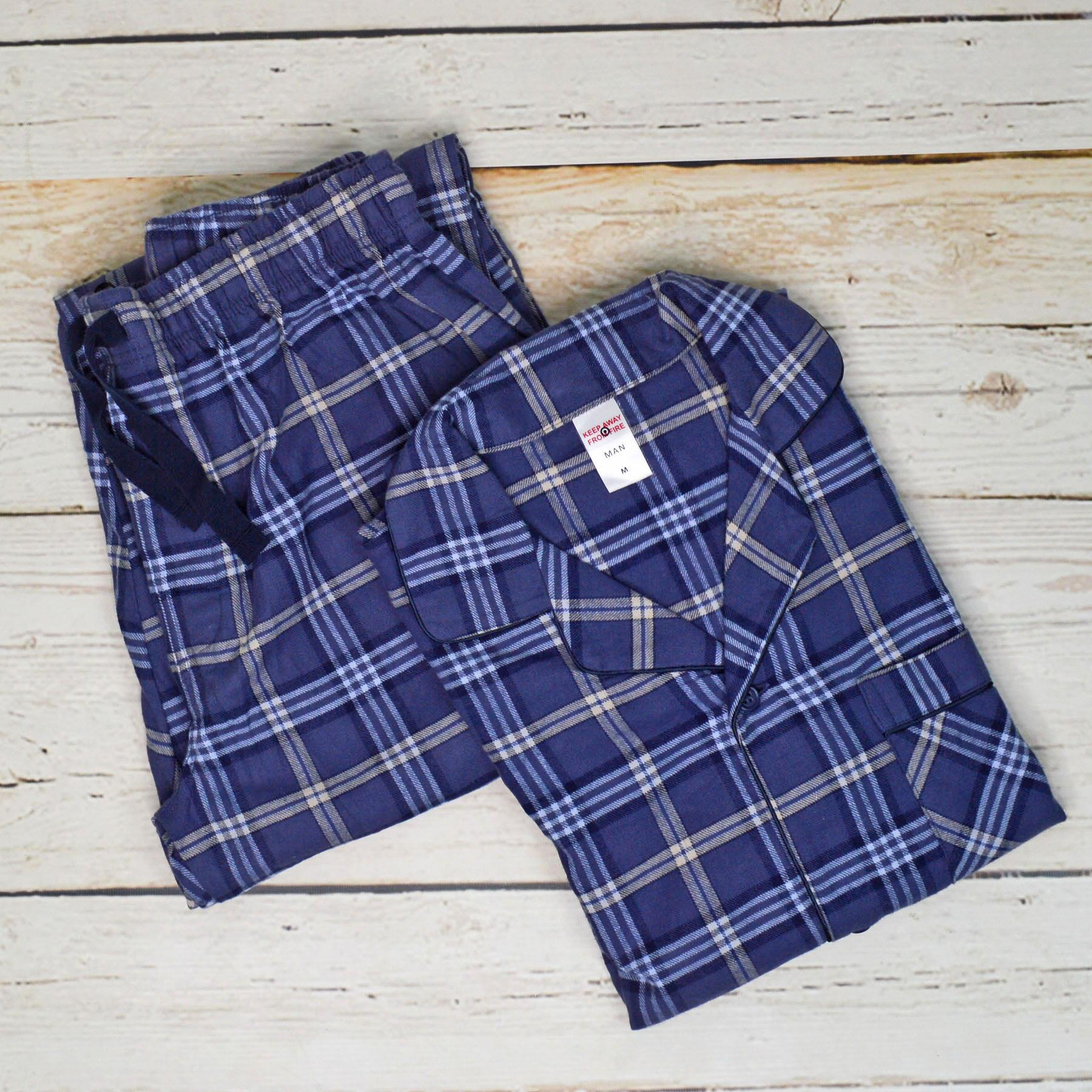 NEW-Mens-Brushed-Pure-Cotton-Check-Pyjamas-Flannelette-PJ-Set-in-Blue-Red-Grey thumbnail 6