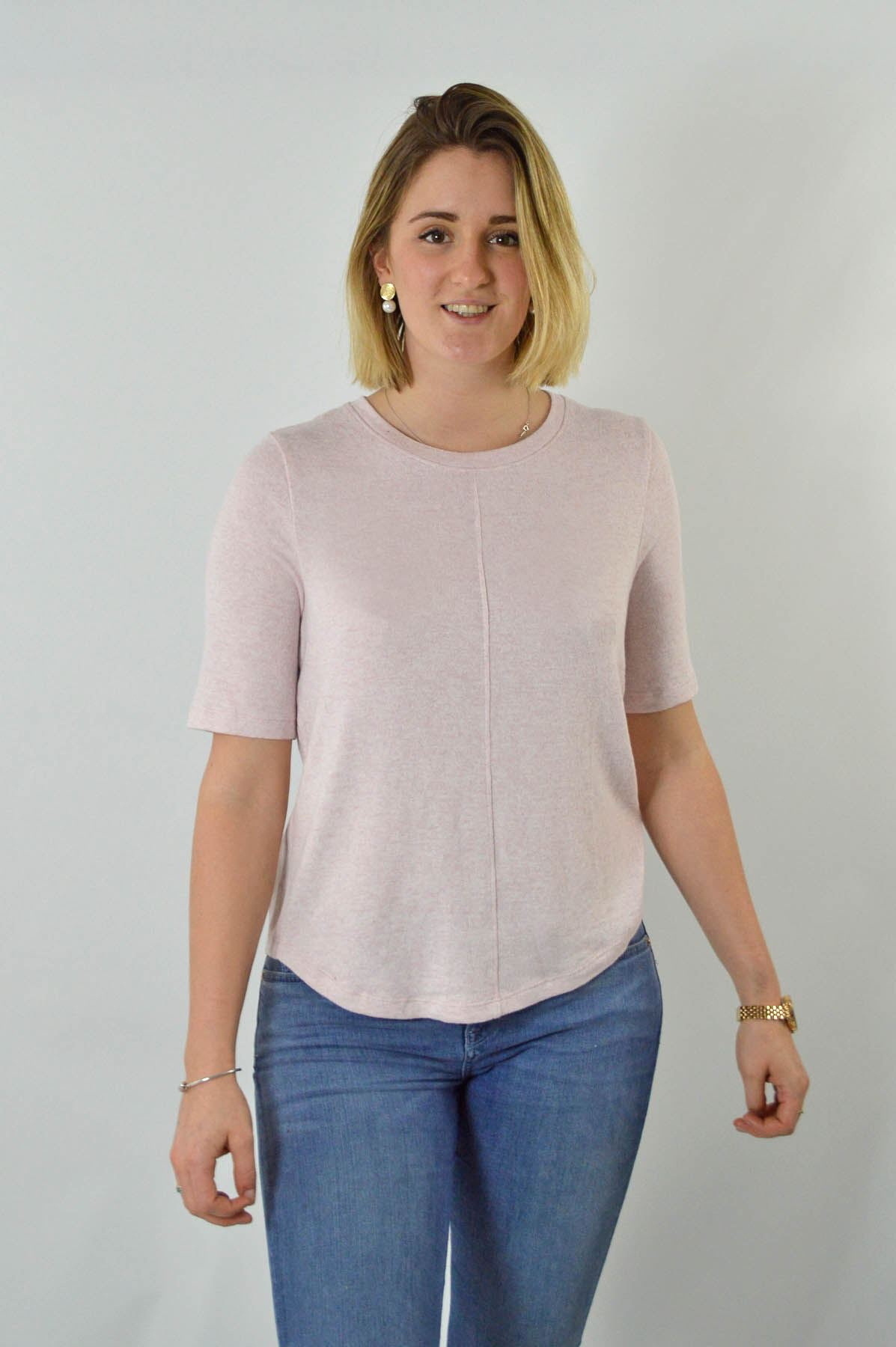 MARKS-AND-SPENCER-M-amp-S-Soft-Knit-Scoop-Neck-Top-Curved-Hem-Pale-Pink-Dark-Navy thumbnail 9