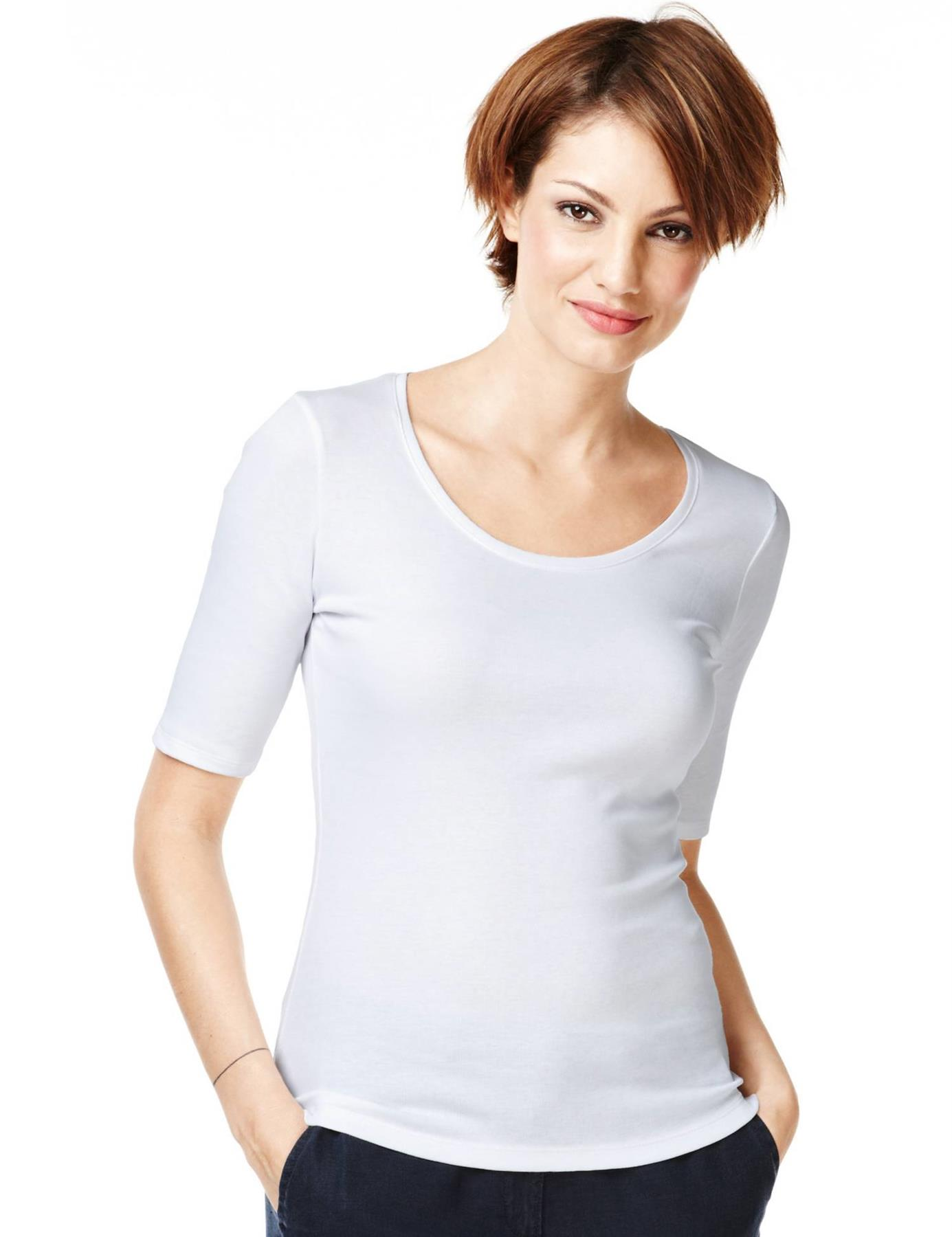 Ladies-Scoop-Neck-Half-Sleeve-T-Shirt-New-ex-M-amp-S-Casual-Regular-Fit-Size-8-22 thumbnail 17