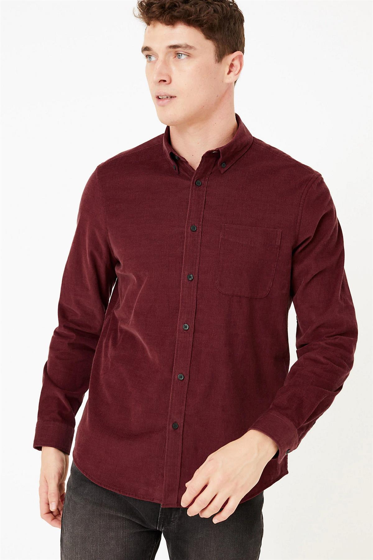 M-amp-S-Marks-and-Spencer-Mens-Fine-Cotton-Corduroy-Needlecord-Shirt-XL-4XL thumbnail 12