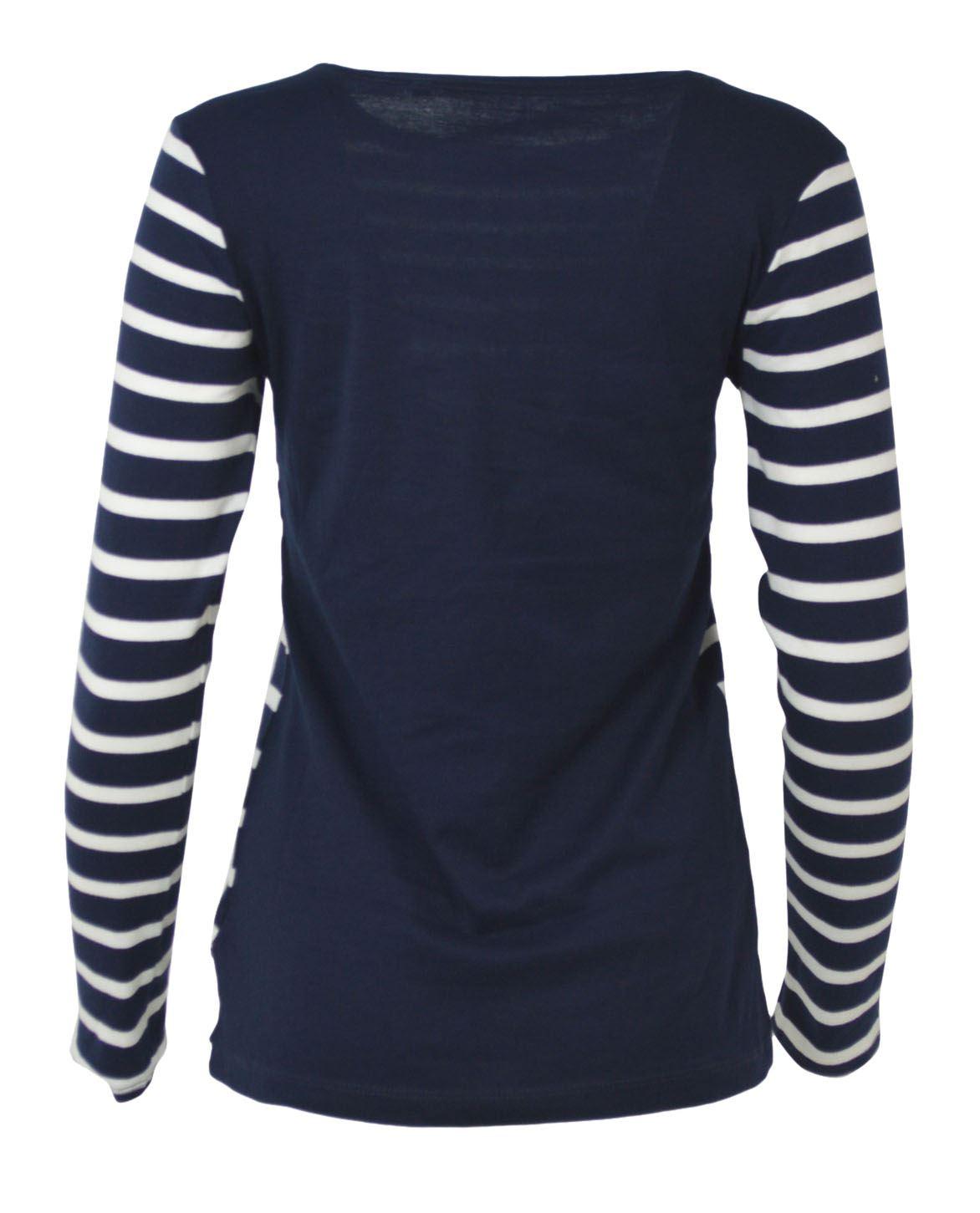 Womens-Crew-Neck-Navy-Black-White-Striped-Jersey-Top-Long-Sleeve-T-Shirt thumbnail 14