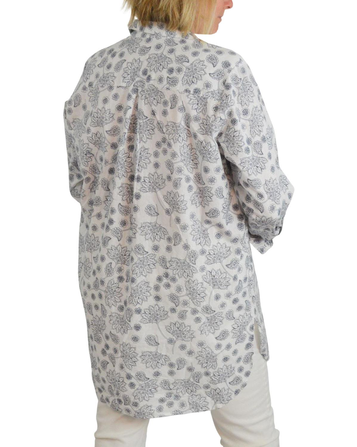 NEW-Ex-C-amp-A-Ladies-Navy-Ivory-Floral-Long-Linen-Shirt-Curved-Hem-Size-16-34 thumbnail 14