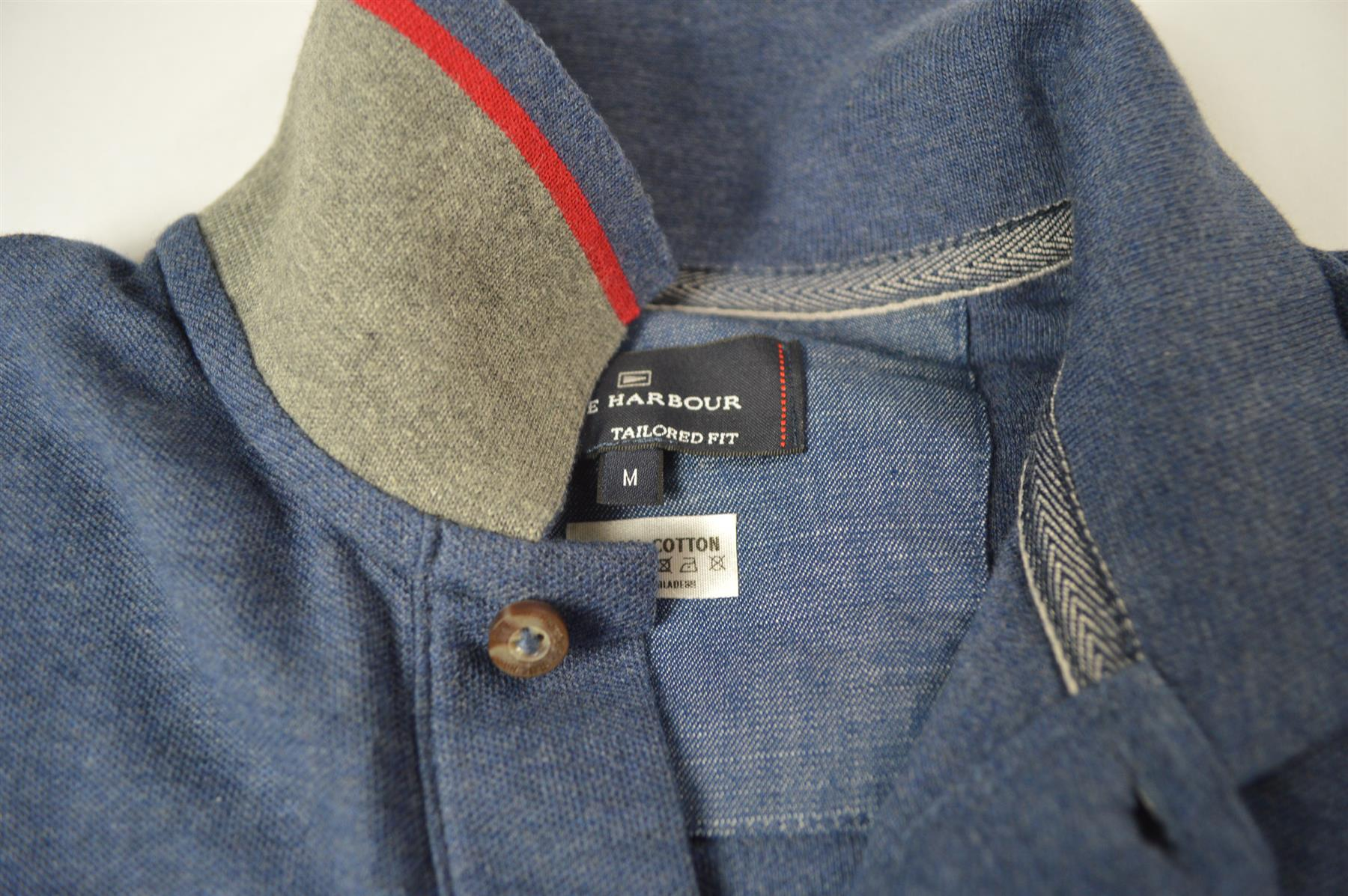NEW-M-amp-S-Blue-Harbour-Mens-Polo-Shirt-Contrast-Stripe-Collar-Embroidered-Logo thumbnail 3