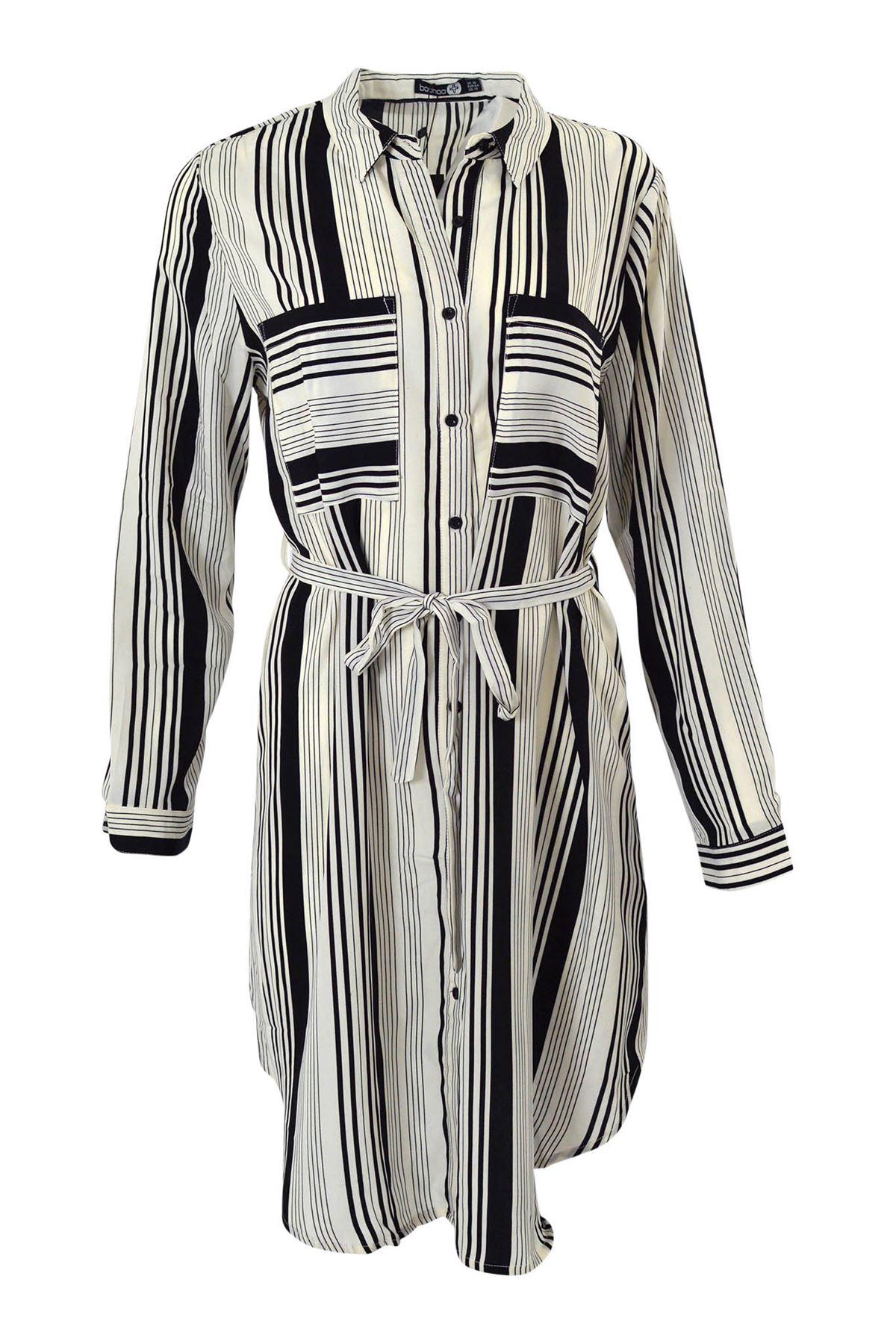 Ex Boohoo White Black Fine Square Check Shirt Dress New Sizes 16 18 20 22 24