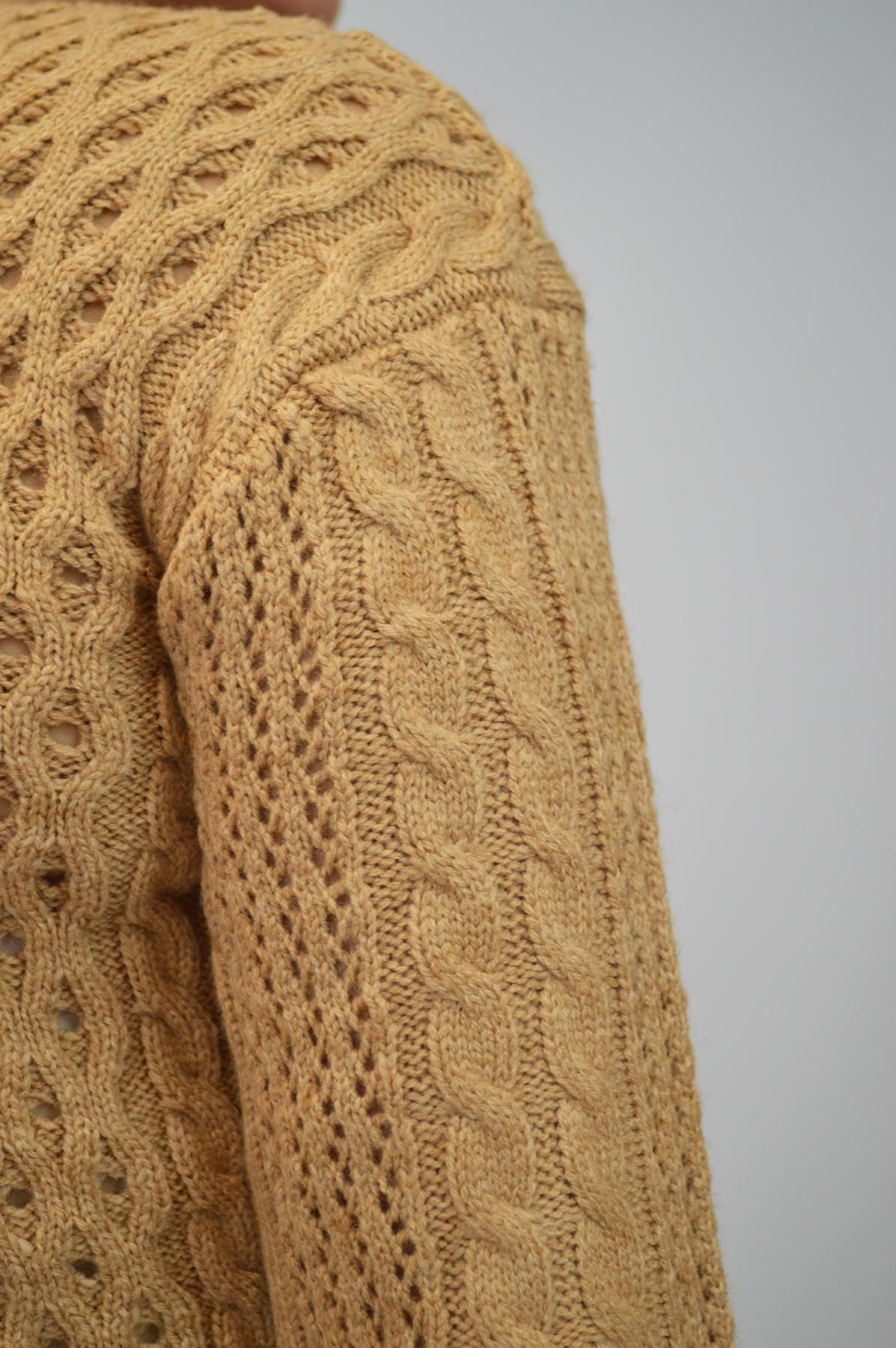 Ex M/&S Caramel Beige Cropped Jumper Cable Knit Button Back Wool Blend