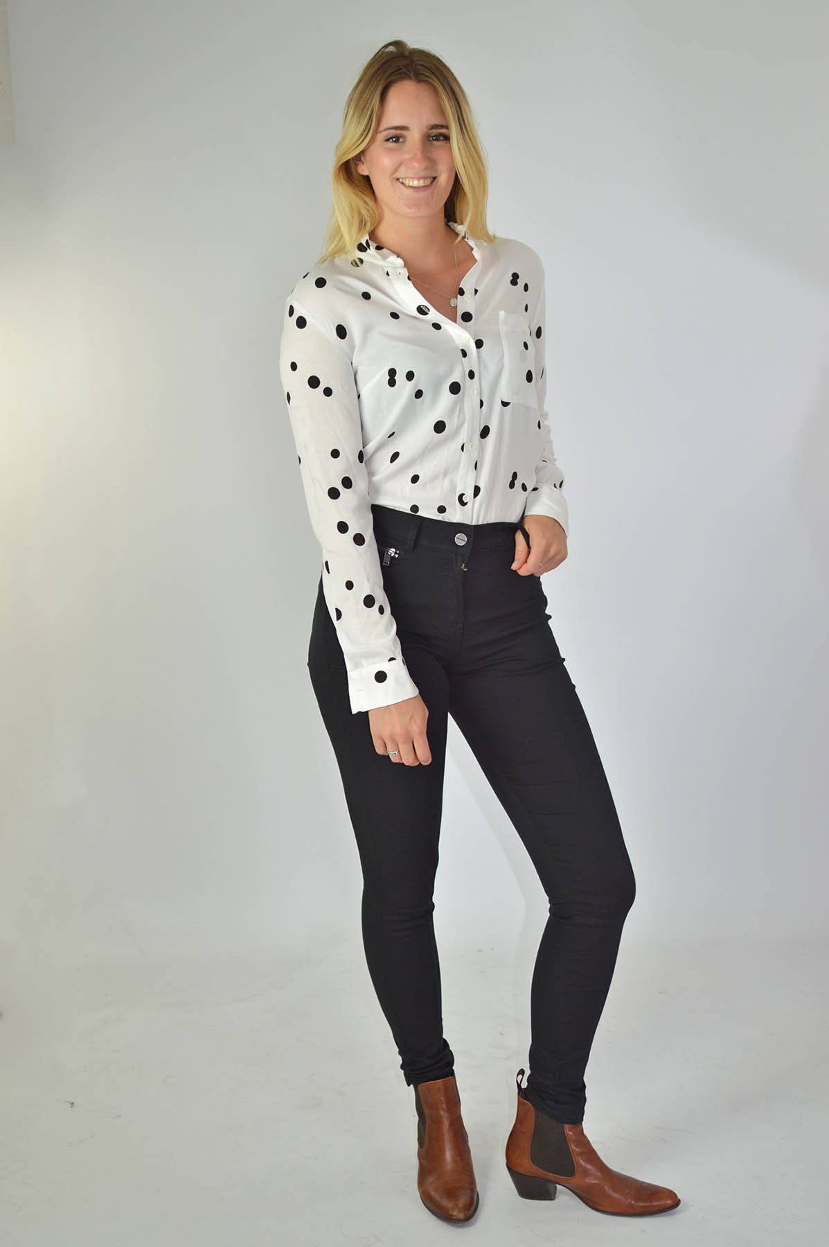 NEXT-Black-White-Spotted-Long-Sleeve-Silky-Shirt-Blouse-SALE-Was-24 thumbnail 15