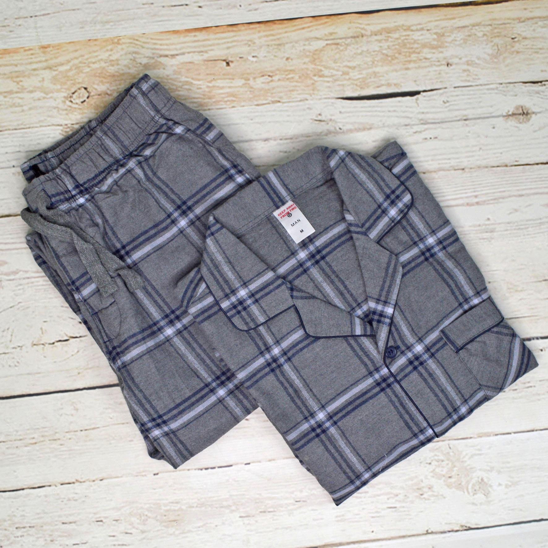 NEW-Mens-Brushed-Pure-Cotton-Check-Pyjamas-Flannelette-PJ-Set-in-Blue-Red-Grey thumbnail 11