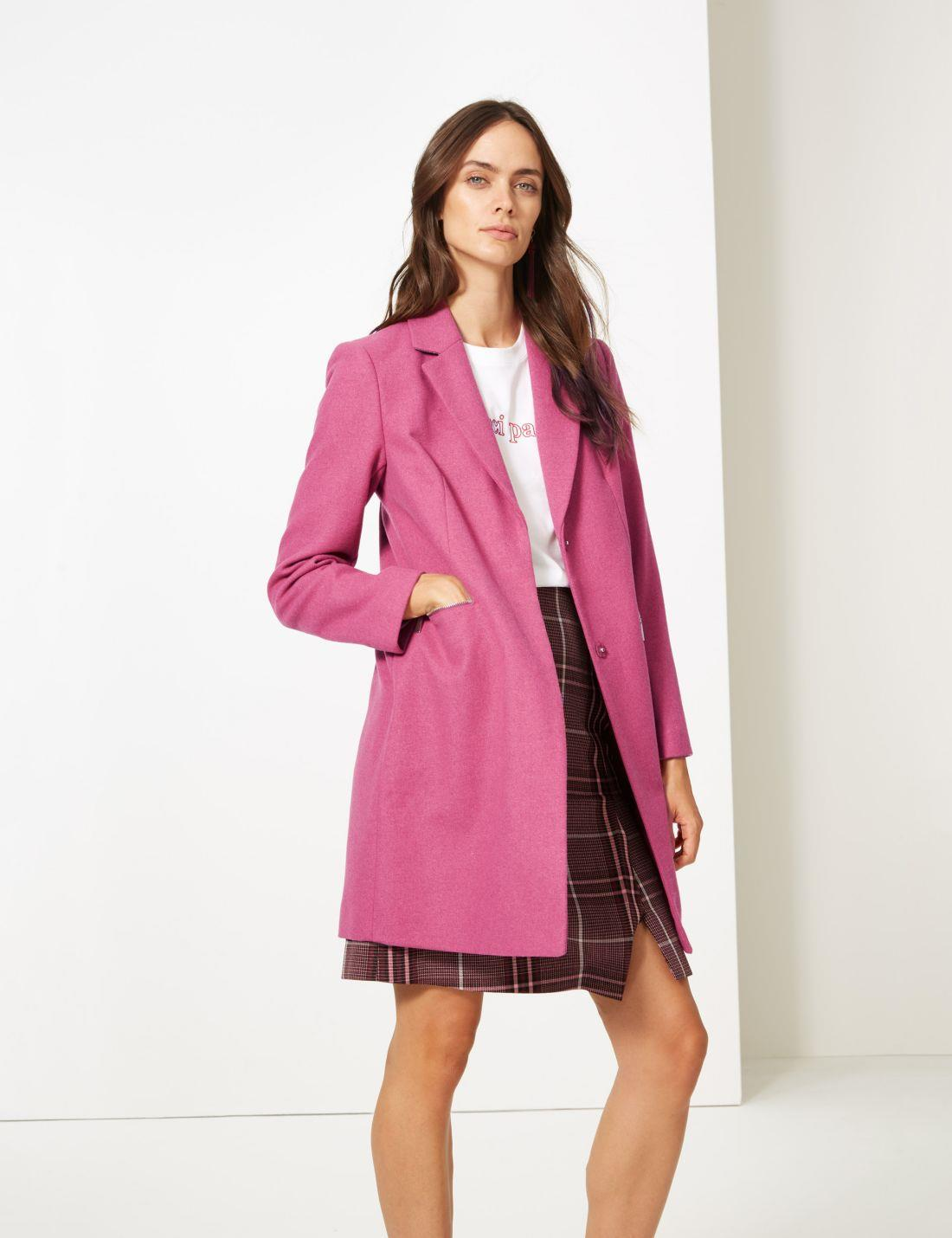 Marks-and-Spencer-Ladies-Size-20-M-amp-S-Pink-Wool-Blend-Coat-Womens thumbnail 15