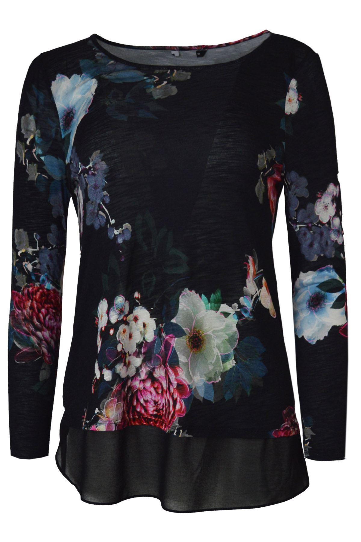 ROMAN-ORIGINALS-Black-Floral-Jersey-Top-with-Chiffon-Mock-Layer-RRP-30 thumbnail 4