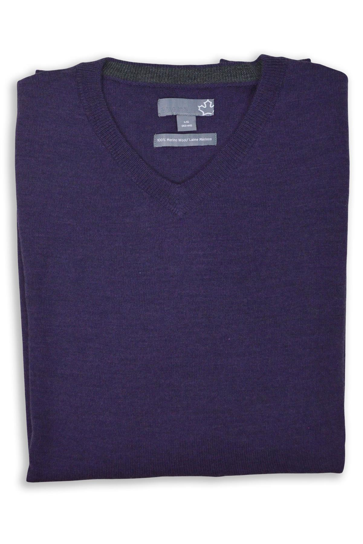 SEARS-Mens-Pure-Merino-Wool-V-Neck-Jumper-Pullover-Super-Quality thumbnail 12