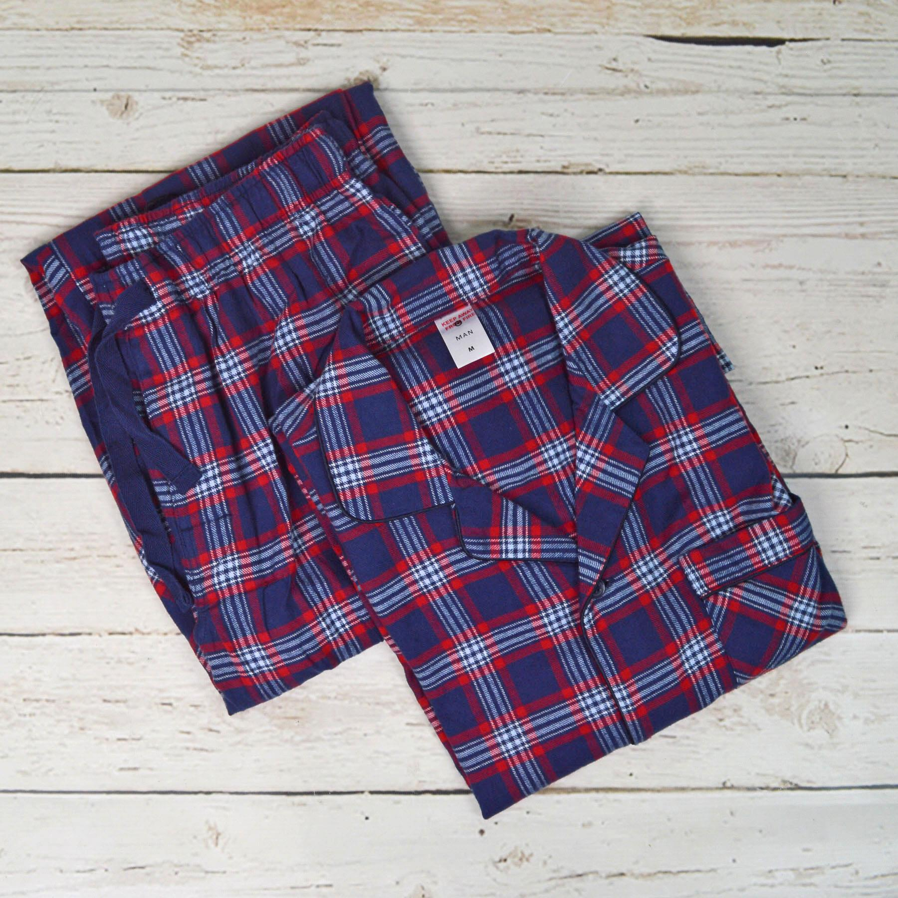 NEW-Mens-Brushed-Pure-Cotton-Check-Pyjamas-Flannelette-PJ-Set-in-Blue-Red-Grey thumbnail 16