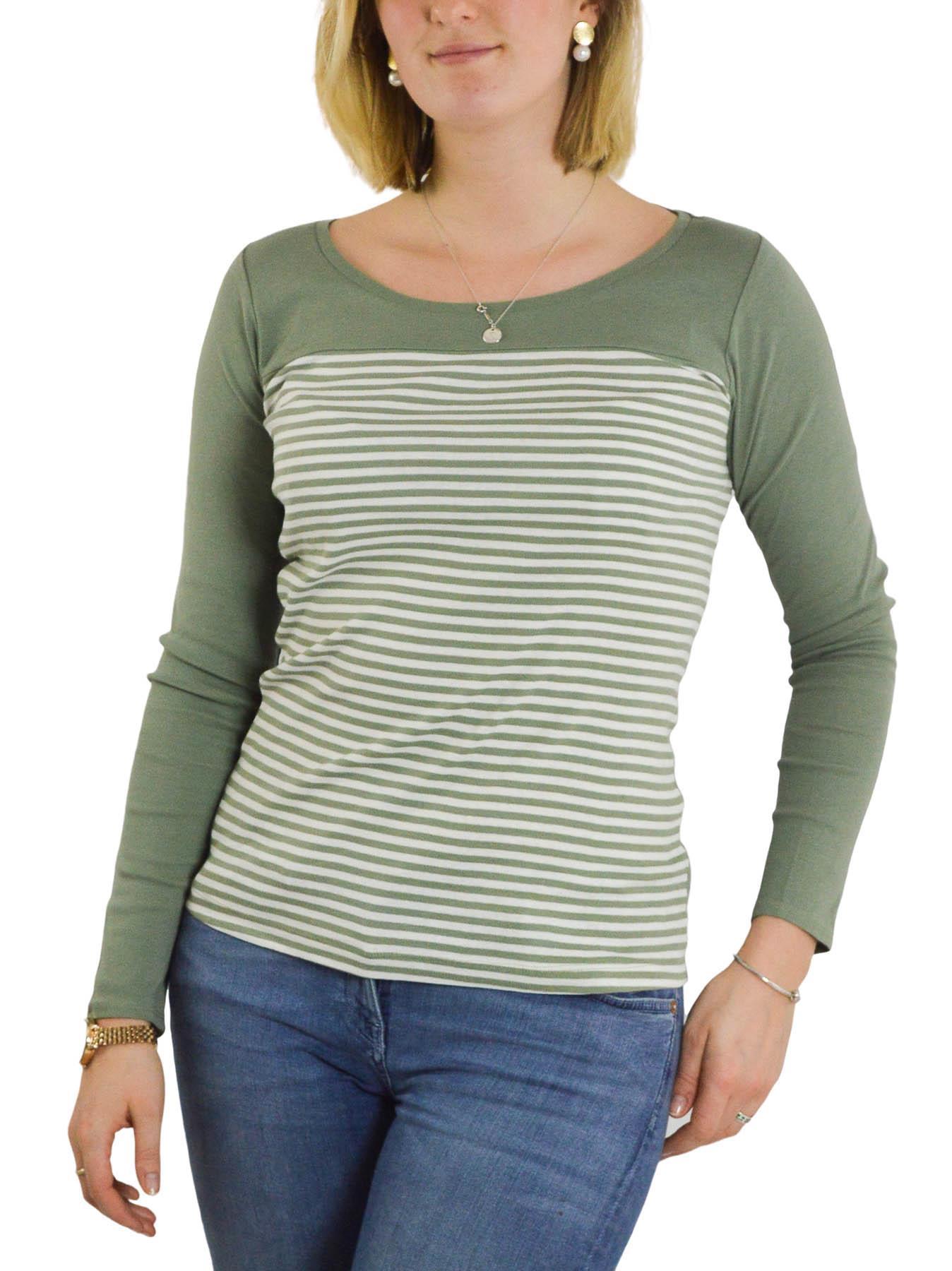 Femmes-a-Rayures-T-shirt-manches-longues-haut-en-jersey-col-rond-kaki-ou-Bleu-marine-Taille-6-24 miniature 6