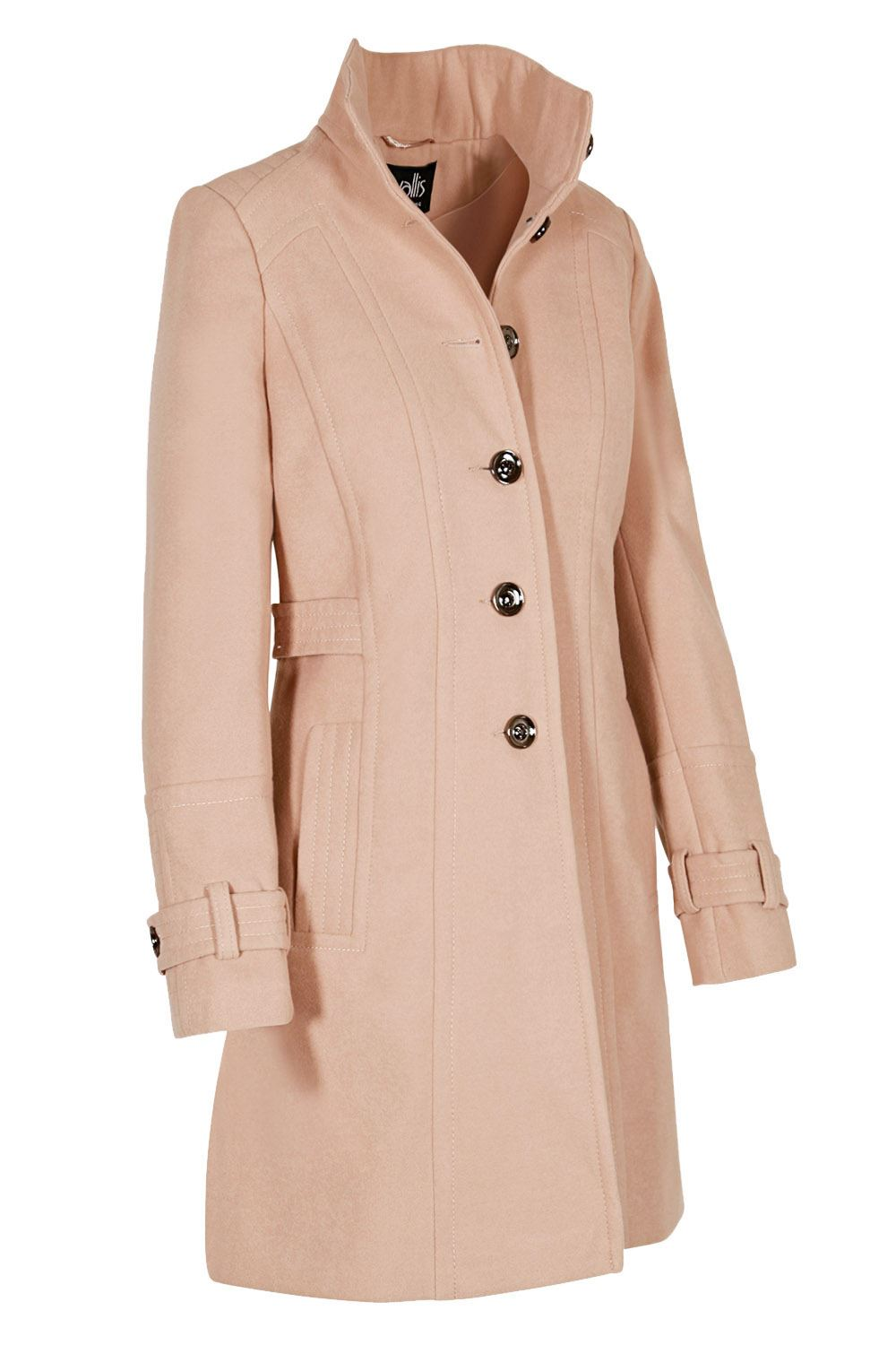 NEW-Ex-Wallis-Funnel-Neck-Button-Down-Winter-Coat-in-Beige-or-Black-Size-8-16 thumbnail 3