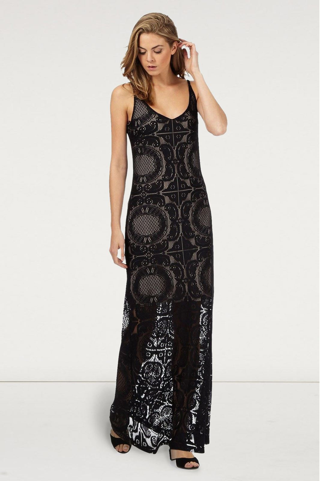 JULIEN-MACDONALD-Black-Lace-Maxi-Party-Dress-Long-Sleevless-RRP-69