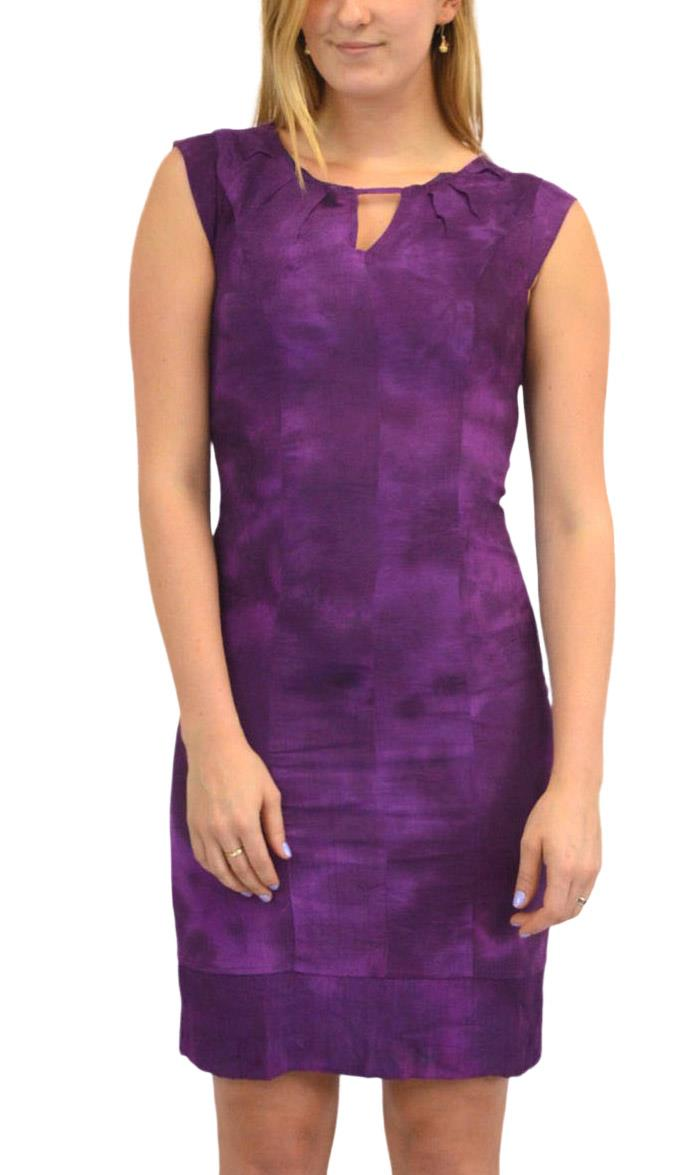 Sleeveless-Office-Silk-Shift-Dress-Work-Green-or-Purple-Size-8-10-12-16 thumbnail 11