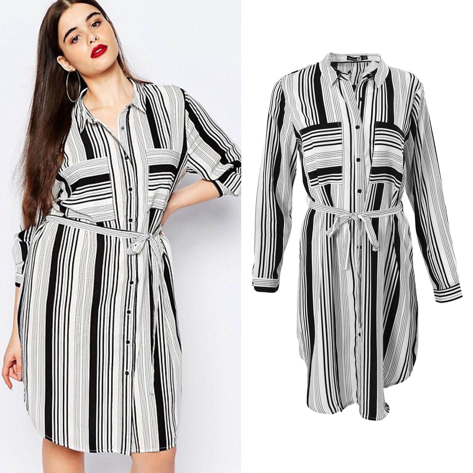 1346517fe17e BOOHOO Ivory Black Stripe Shirt Dress | SALE | Was £25 | eBay
