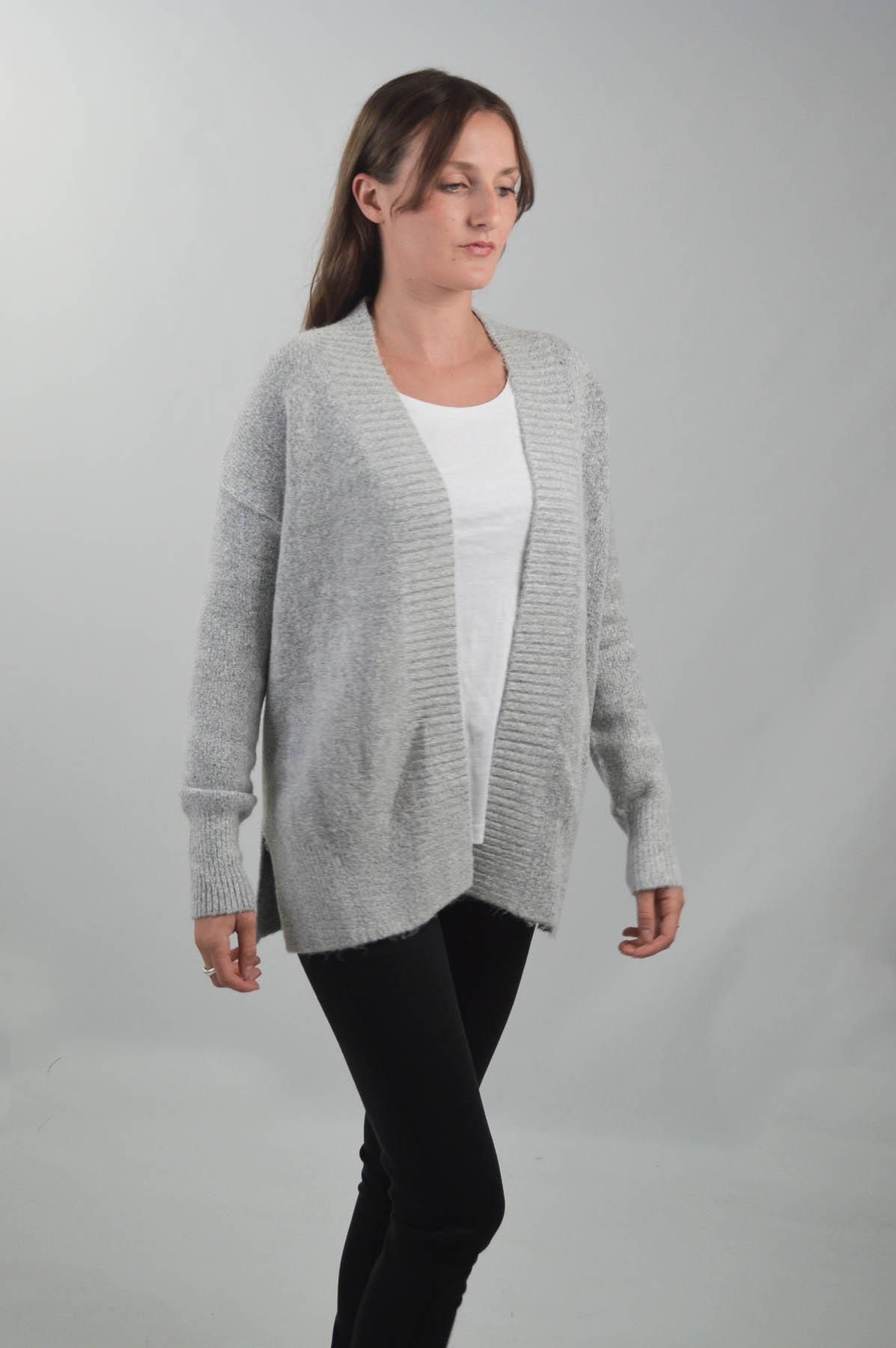 Womens-Open-Front-Cardigan-Ribbed-Edges-Chunky-Knit-Side-Splits-Burgundy-Grey thumbnail 9