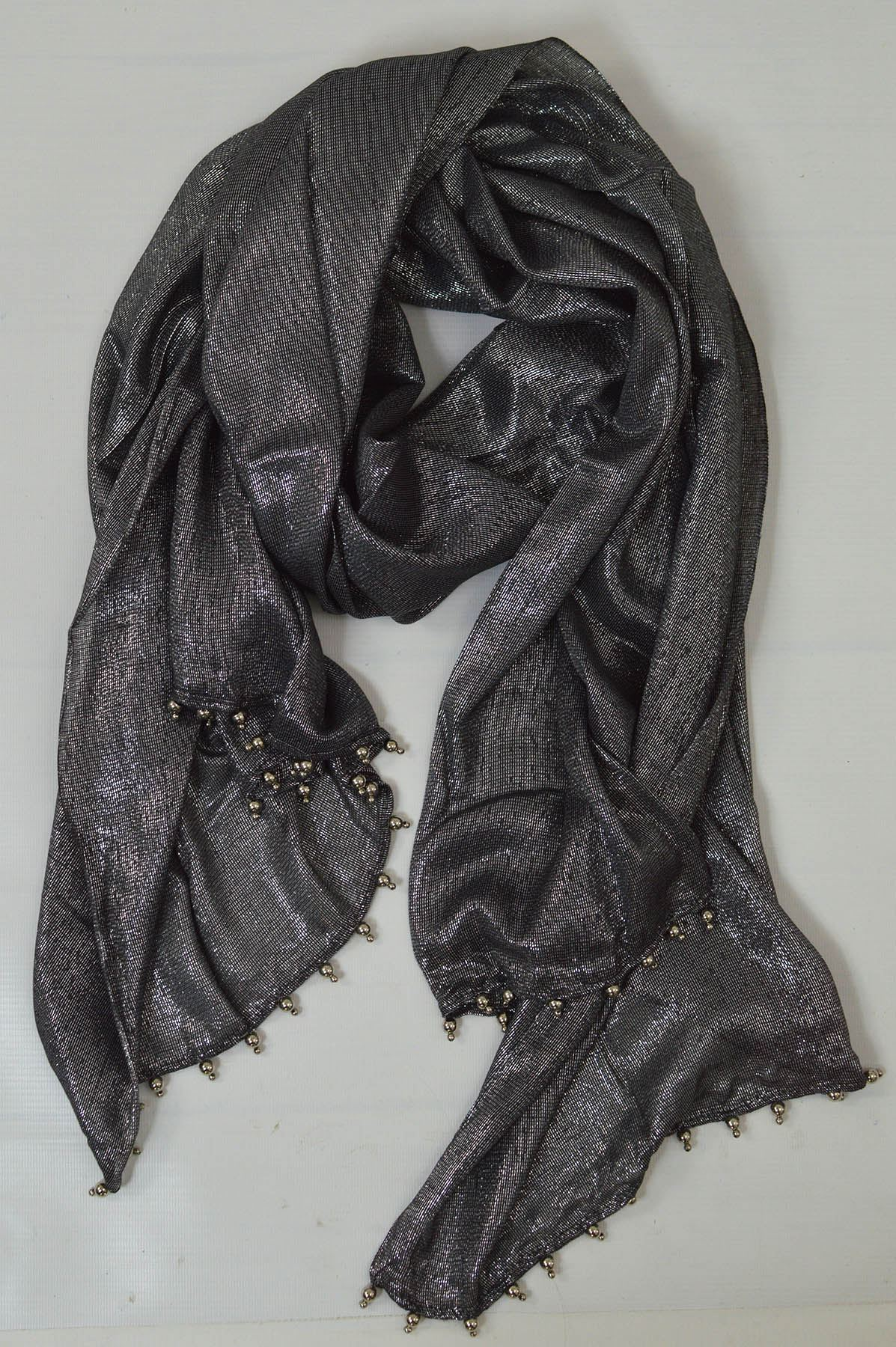 Lightweight Lurex Wrap Beaded Edge Evening Scarf in Gold Silver or Black