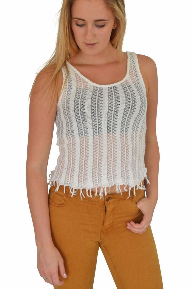Ex-Topshop-Sleeveless-Crochet-Weave-Fringed-Summer-Crop-Vest-Top-Size-6-8-10-14 thumbnail 9