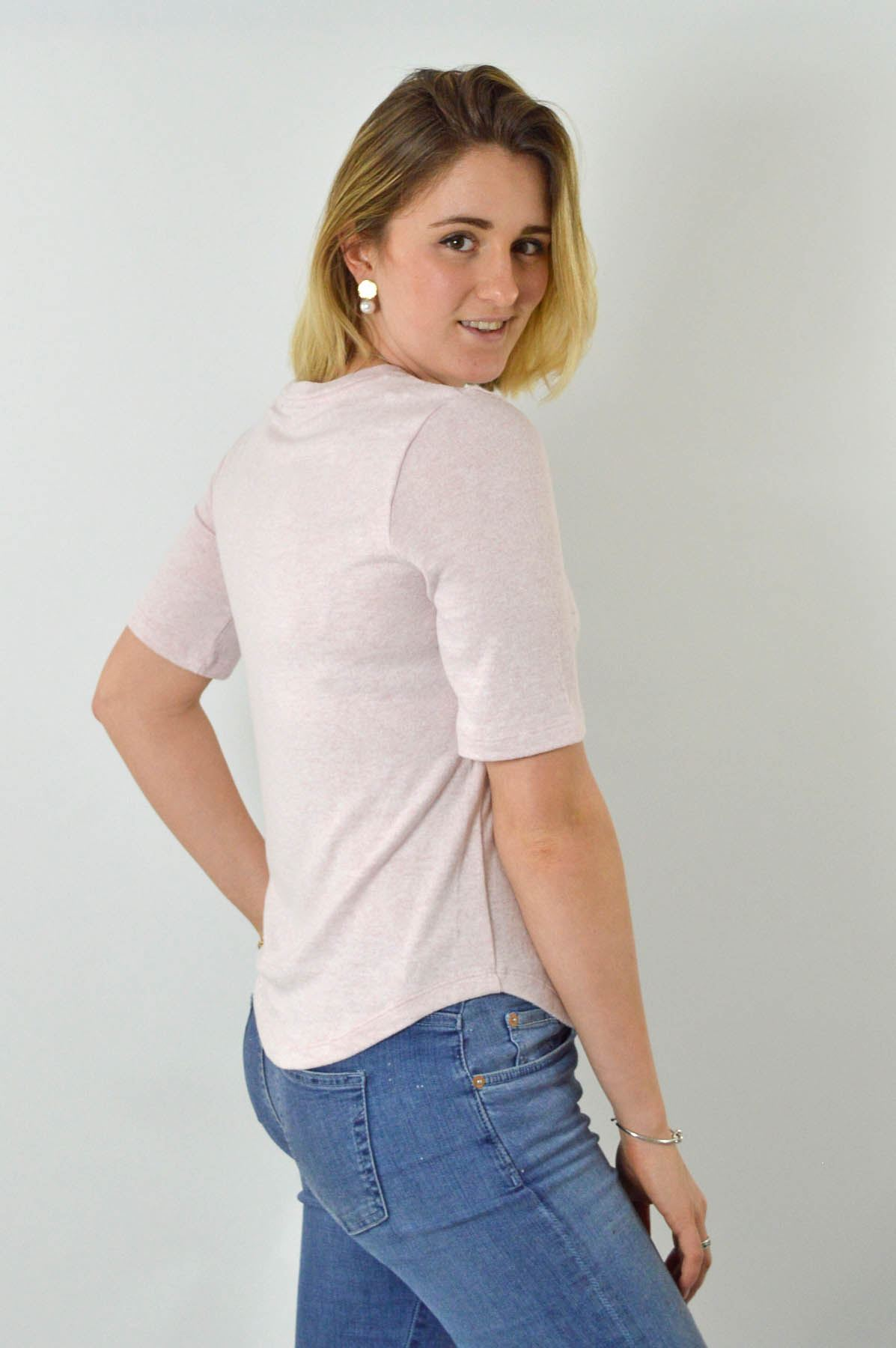MARKS-AND-SPENCER-M-amp-S-Soft-Knit-Scoop-Neck-Top-Curved-Hem-Pale-Pink-Dark-Navy thumbnail 8