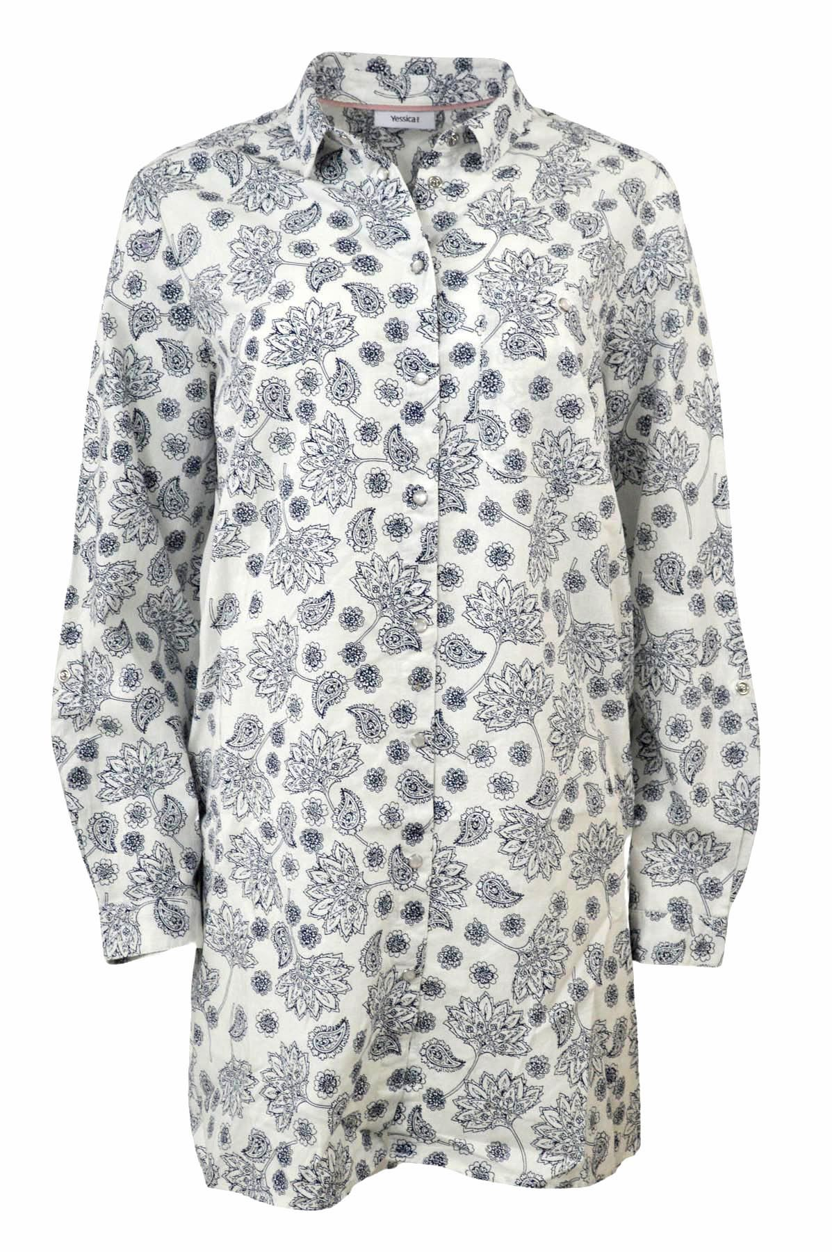 YESSICA-Womens-Ivory-Navy-Floral-Linen-Cotton-Long-Sleeve-Shirt-RRP-28 thumbnail 14