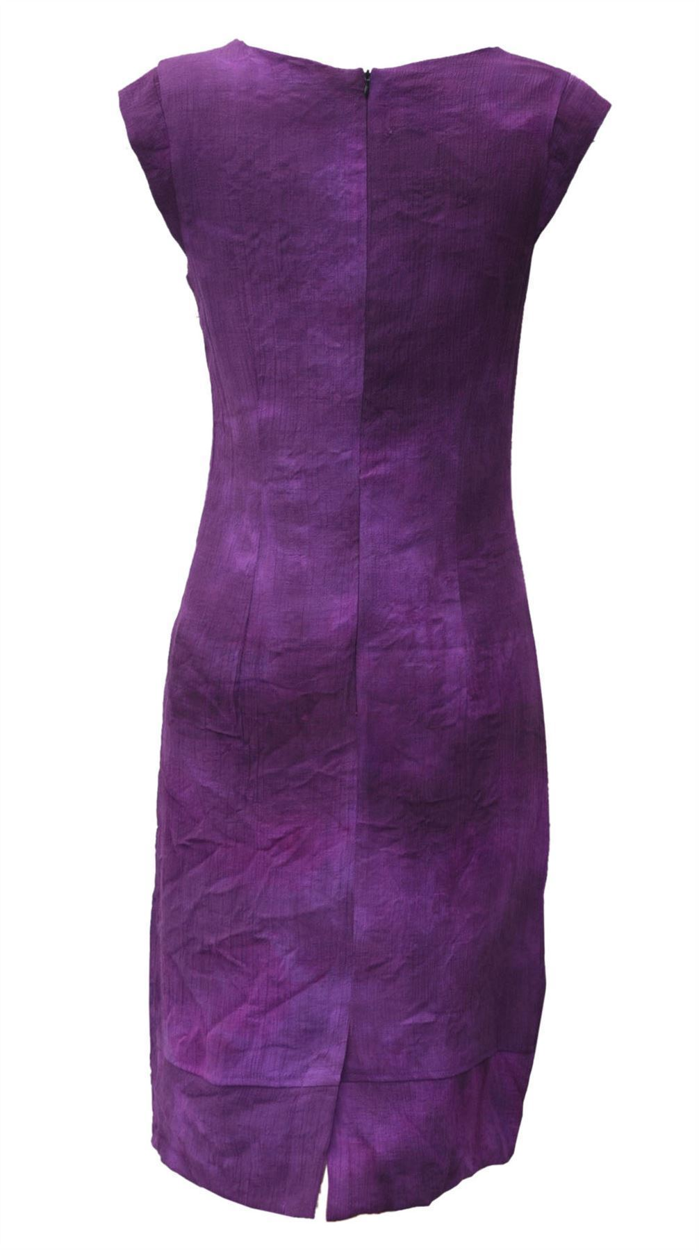Sleeveless-Office-Silk-Shift-Dress-Work-Green-or-Purple-Size-8-10-12-16 thumbnail 10