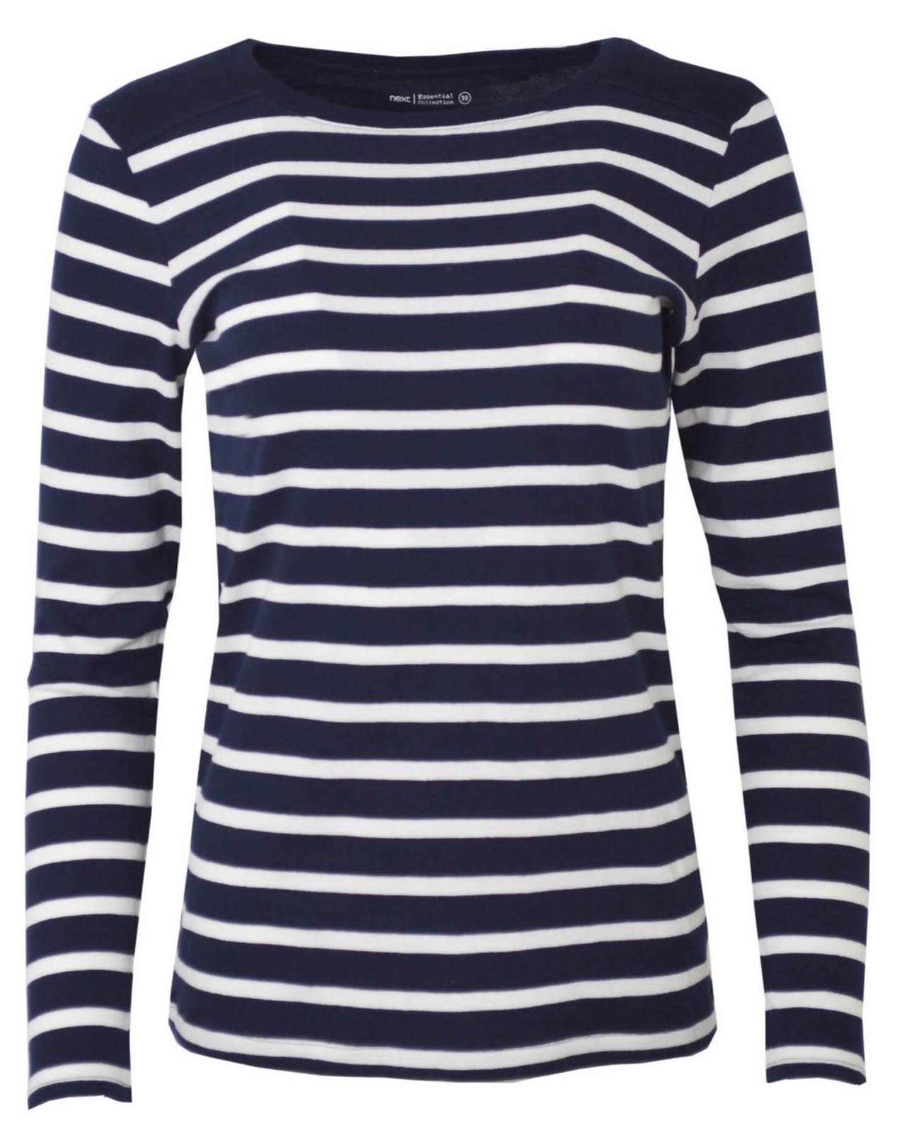 Womens-Crew-Neck-Navy-Black-White-Striped-Jersey-Top-Long-Sleeve-T-Shirt thumbnail 13