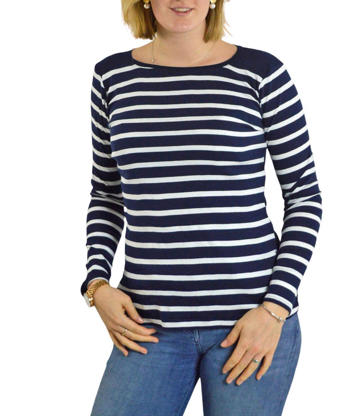 Ladies-Black-or-Navy-White-Stripe-Long-Sleeve-T-Shirt-Top thumbnail 9