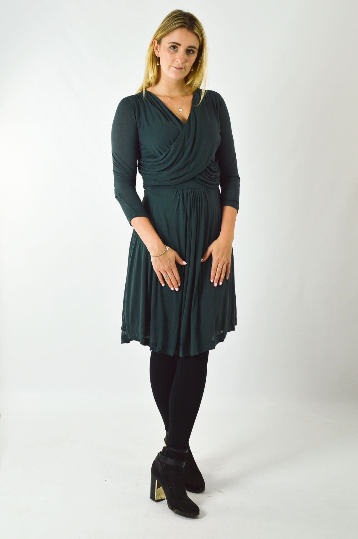 Ex-French-Connection-Wrap-Dress-Jersey-Stretch-Long-Sleeve-Skater-Dress-Size-XS thumbnail 8