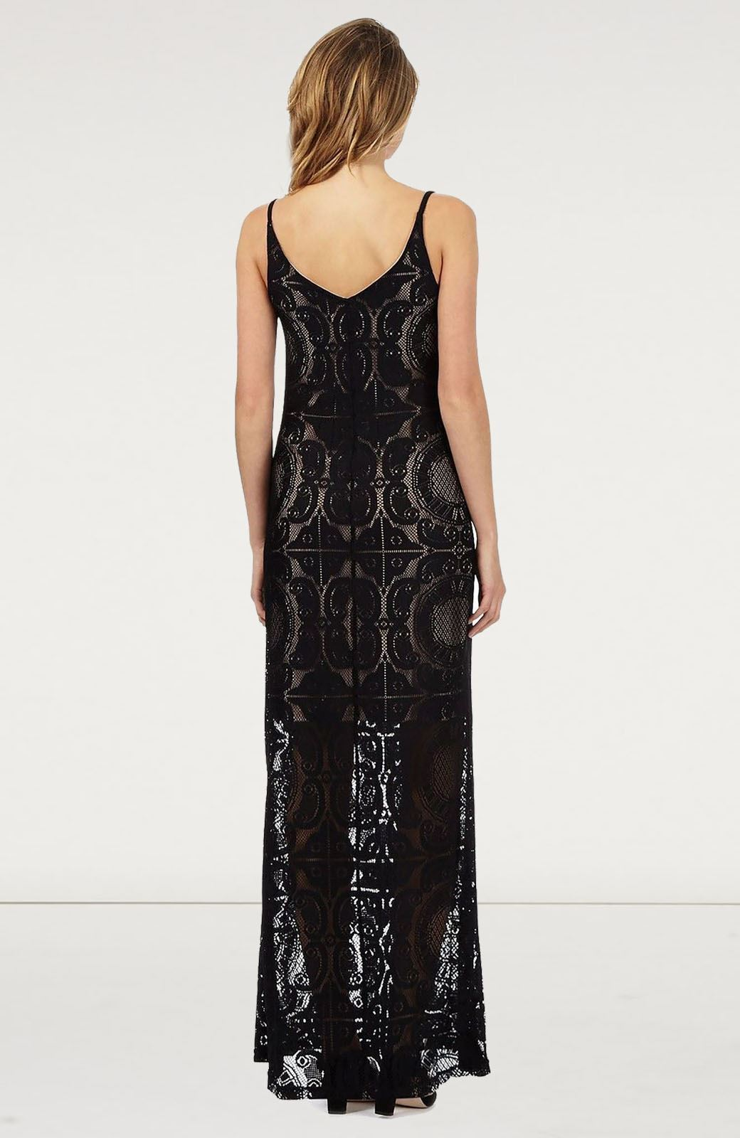 JULIEN-MACDONALD-Black-Lace-Maxi-Party-Dress-Long-Sleevless-RRP-69 thumbnail 3