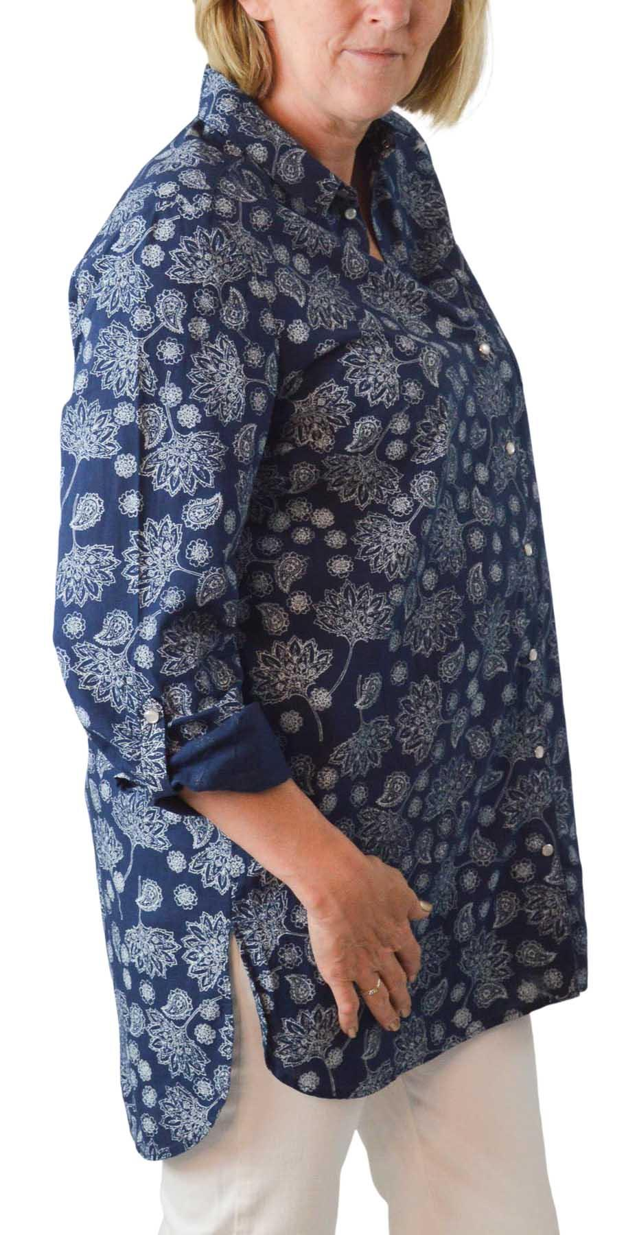 NEW-Ex-C-amp-A-Ladies-Navy-Ivory-Floral-Long-Linen-Shirt-Curved-Hem-Size-16-34 thumbnail 9