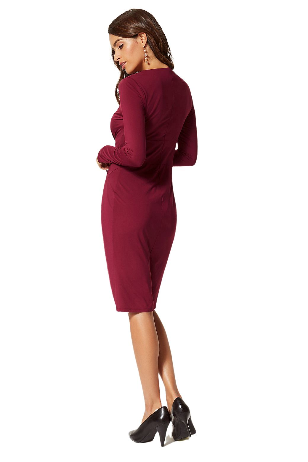 Ex-M-amp-S-Marks-Spencer-Tie-Front-Stretch-Midi-Dress-Burgundy-or-Black-Size-6-22 thumbnail 8