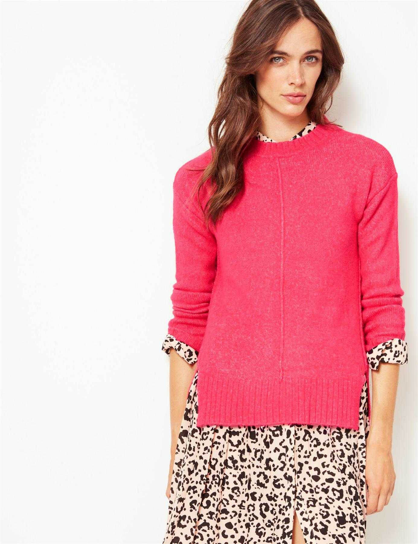 Ex-M-amp-S-Marks-and-Spencer-Womens-Relaxed-Fit-Crew-Neck-Jumper-Side-Splits thumbnail 10