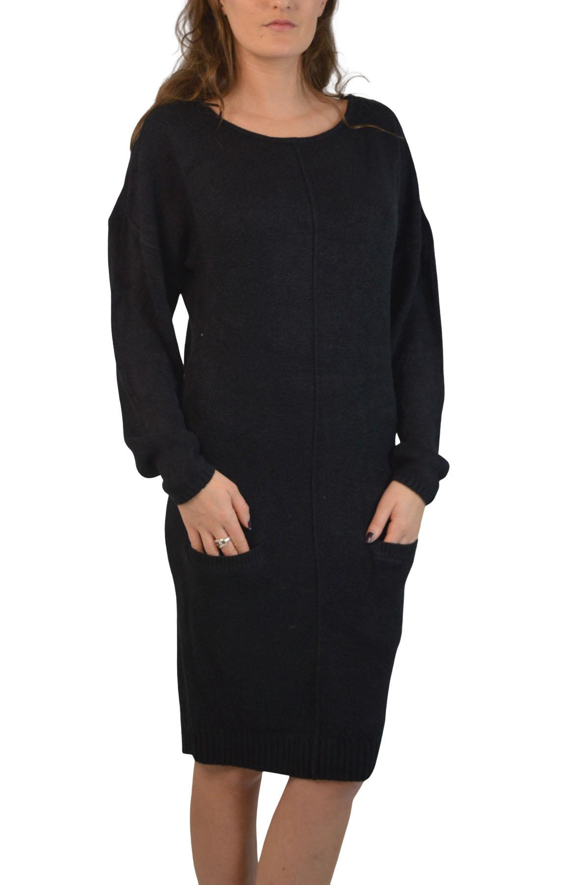 Womens-Soft-Long-Jumper-Dress-Round-Neck-Front-Pockets-Lilac-Black-Pink thumbnail 7