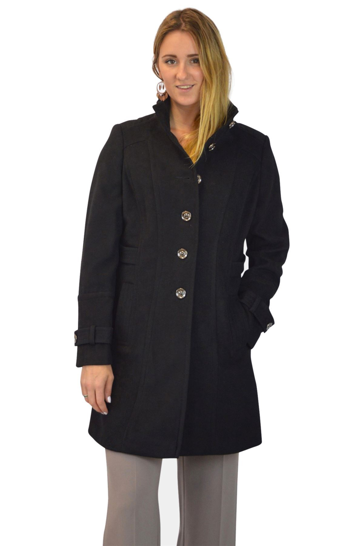 NEW-Ex-Wallis-Funnel-Neck-Button-Down-Winter-Coat-in-Beige-or-Black-Size-8-16 thumbnail 11