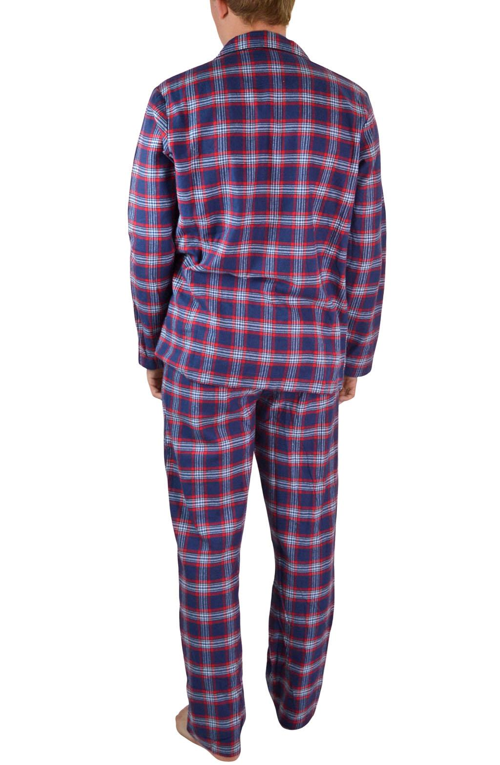 NEW-Mens-Brushed-Pure-Cotton-Check-Pyjamas-Flannelette-PJ-Set-in-Blue-Red-Grey thumbnail 15