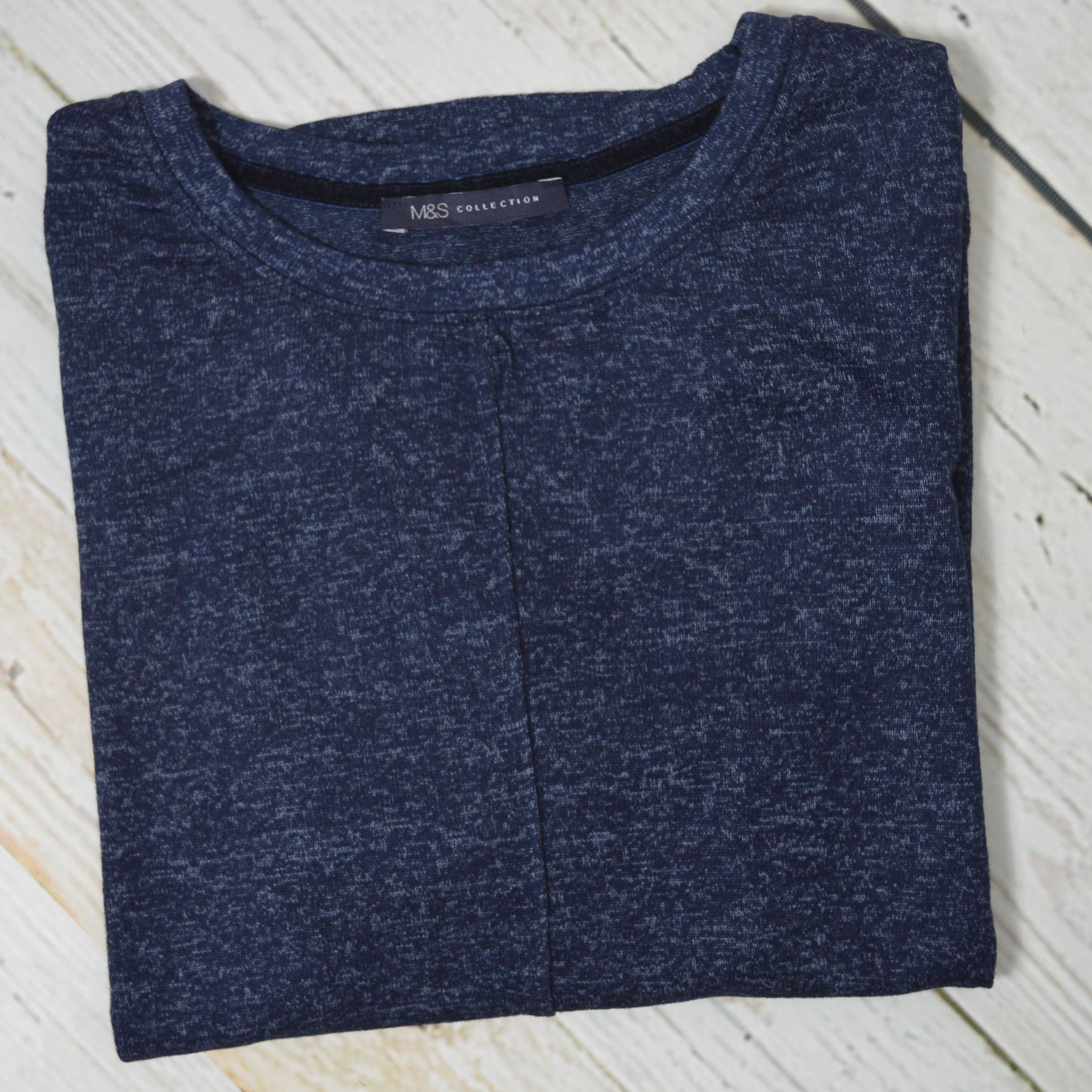 MARKS-AND-SPENCER-M-amp-S-Soft-Knit-Scoop-Neck-Top-Curved-Hem-Pale-Pink-Dark-Navy thumbnail 5