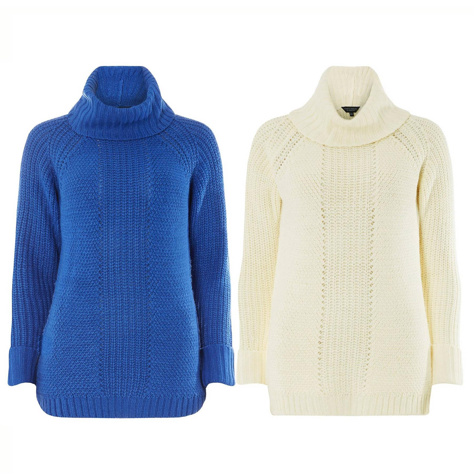 Brand New Ladies Ex Dorothy Perkins Red Roll Neck Jumper knitwear